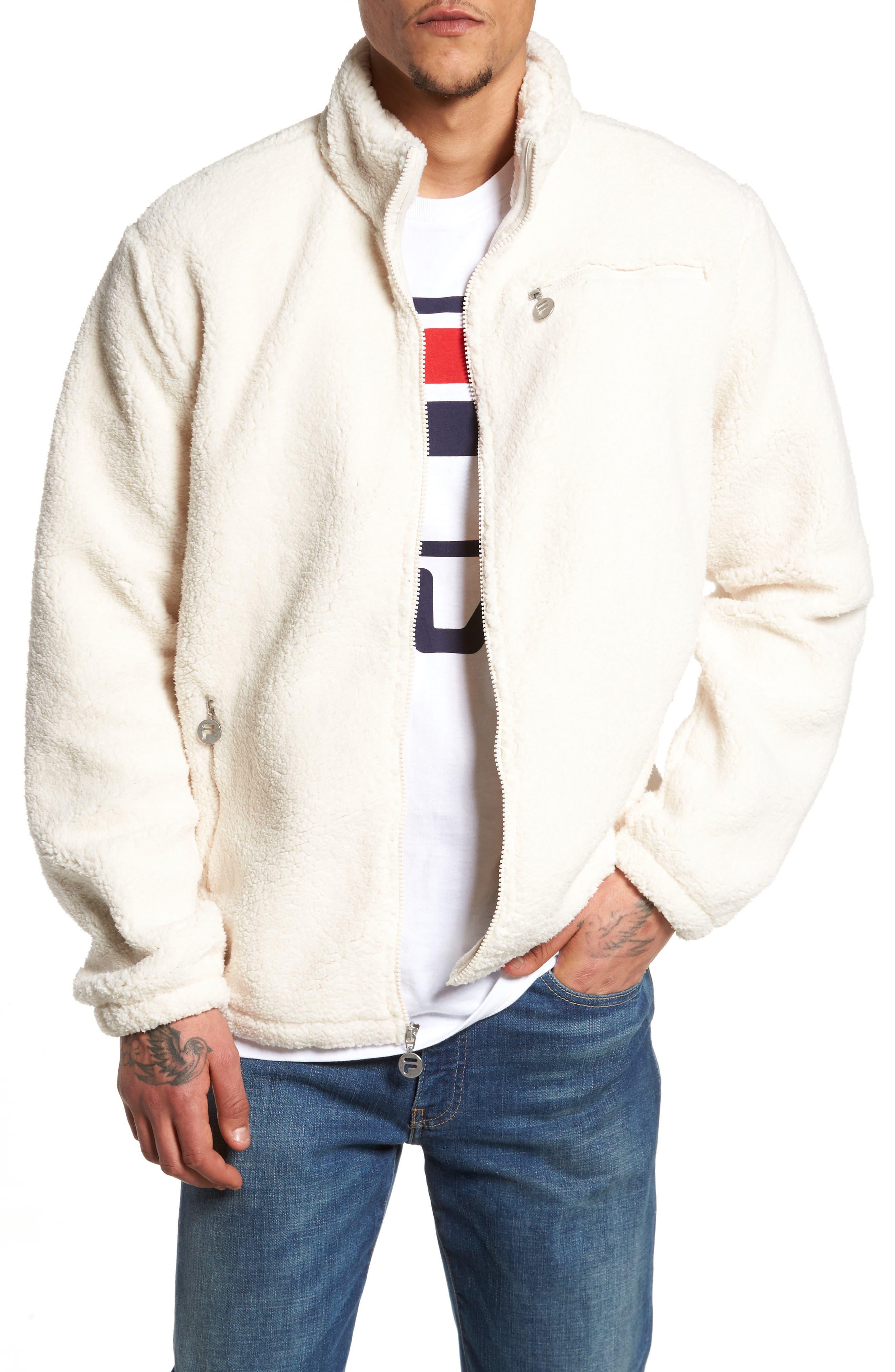 Finlay Fleece Jacket,                         Main,                         color, Gardenia/ Navy/ Chinese Red