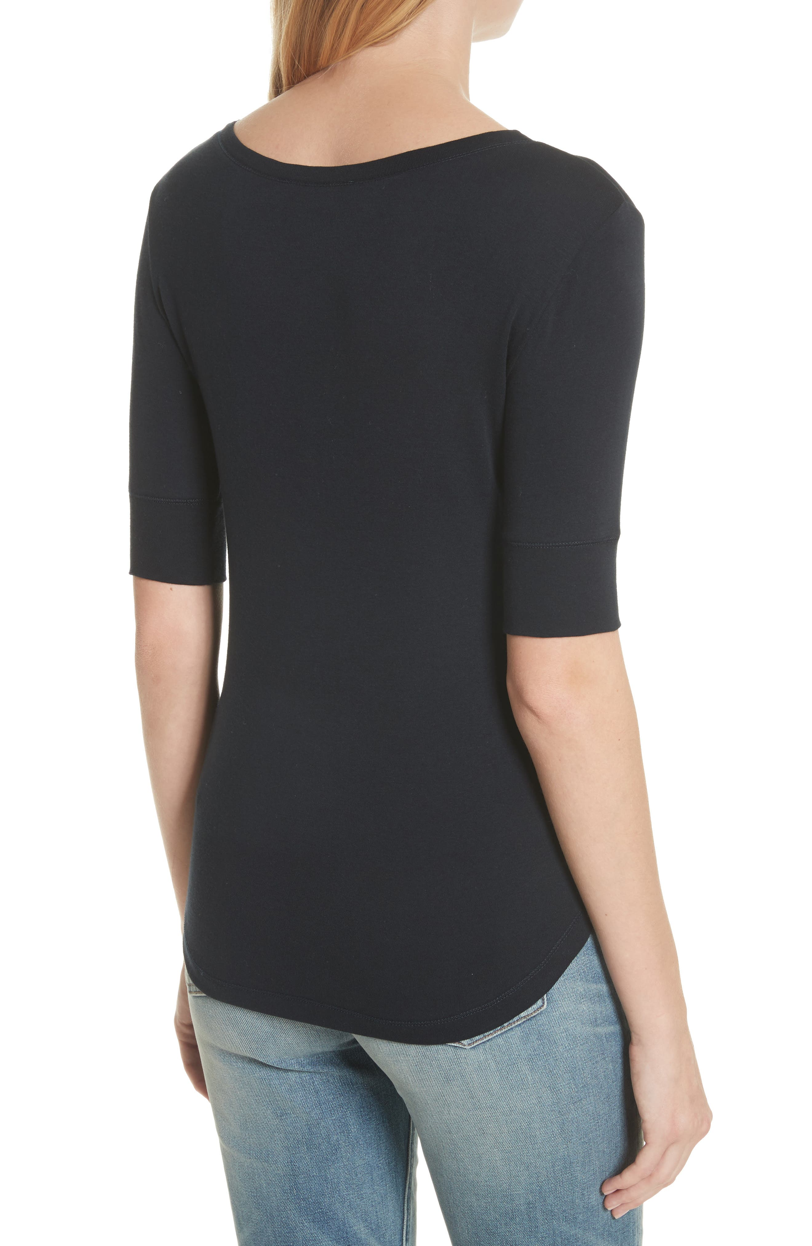 Alternate Image 2  - Vince Elbow Sleeve Henley Cotton Top
