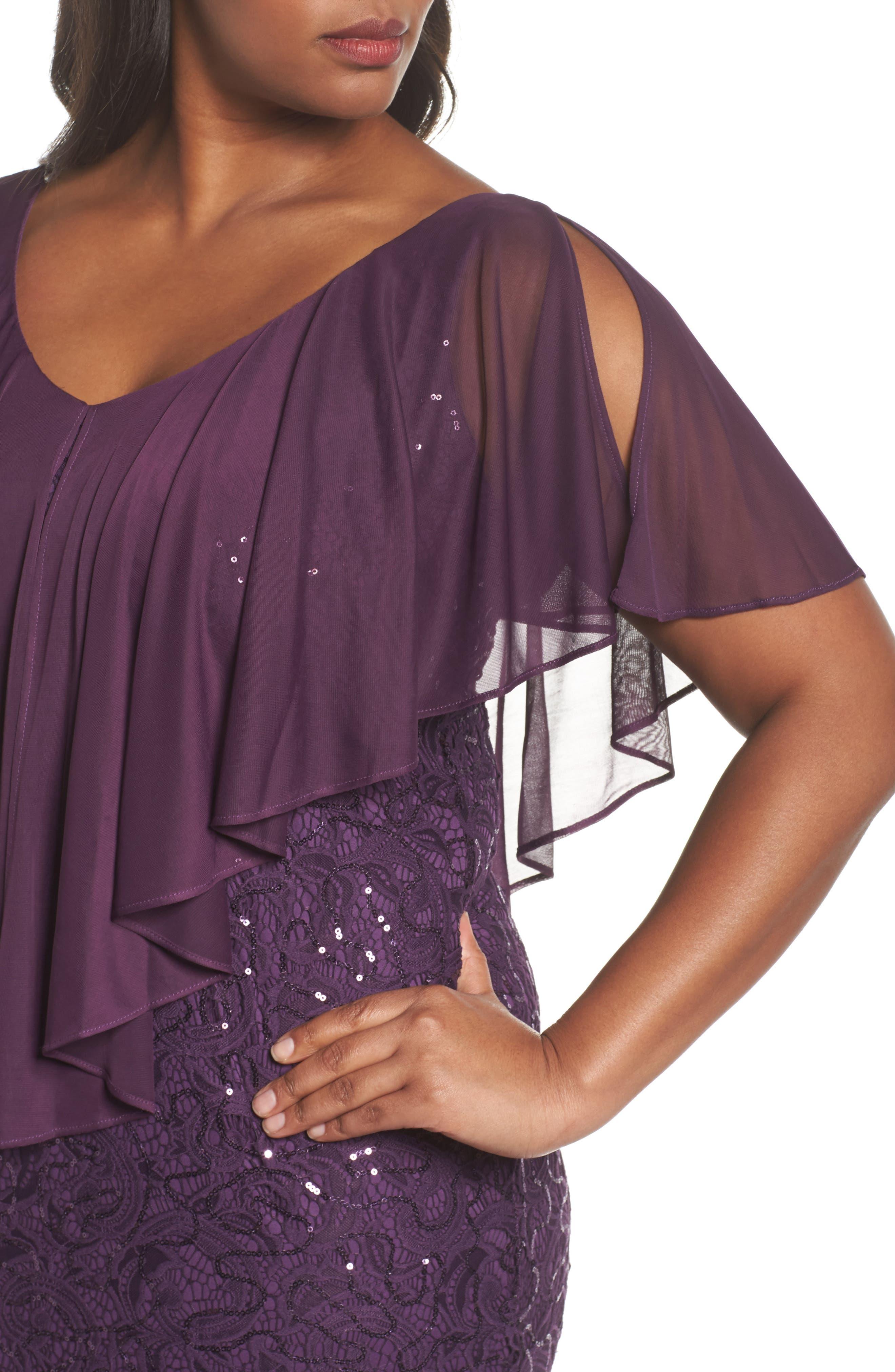 Alternate Image 4  - Marina Capelet Sequin Lace A-Line Gown (Plus Size)