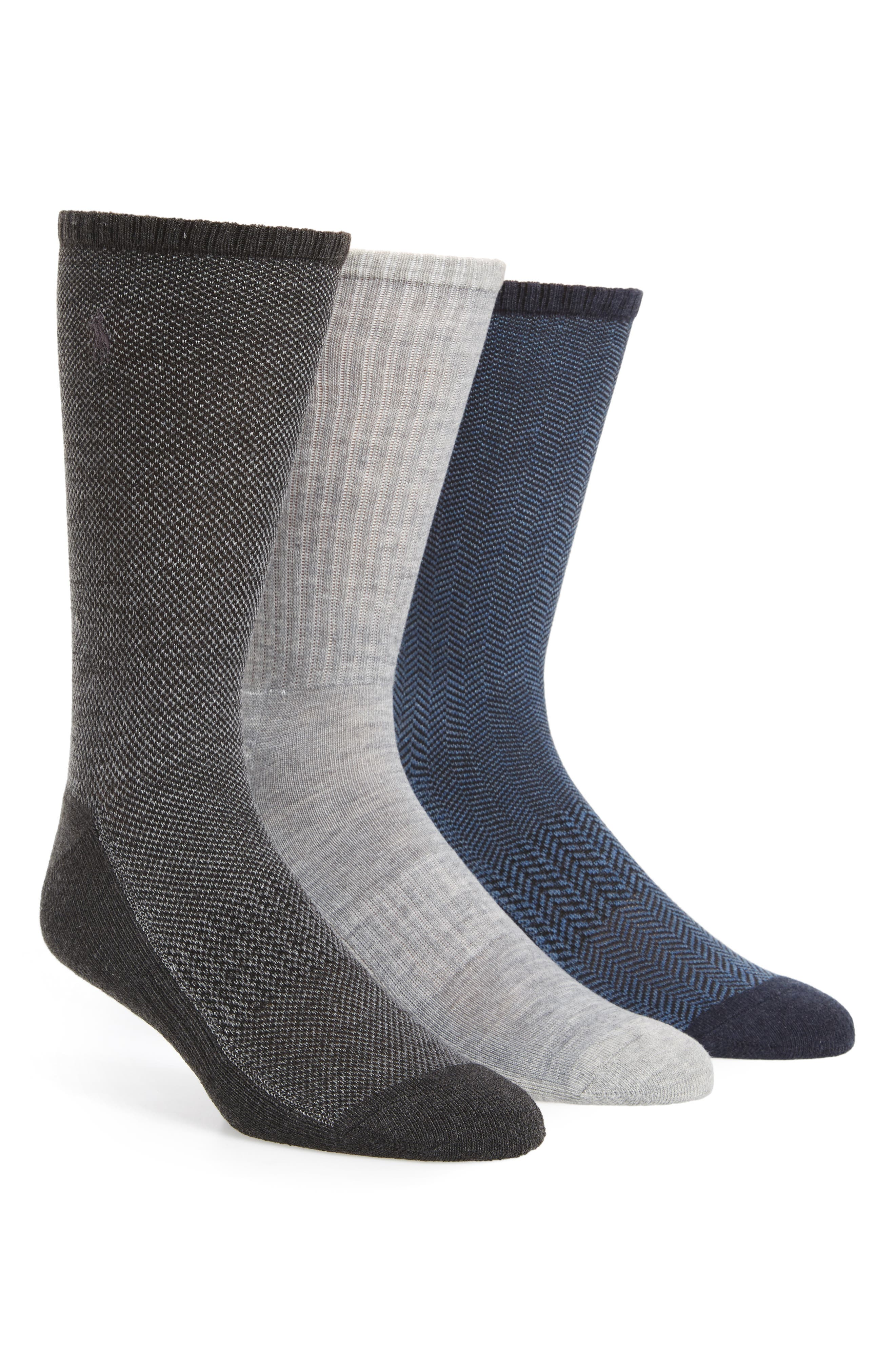 3-Pack Crew Socks,                             Main thumbnail 1, color,                             Charcoal Assorted
