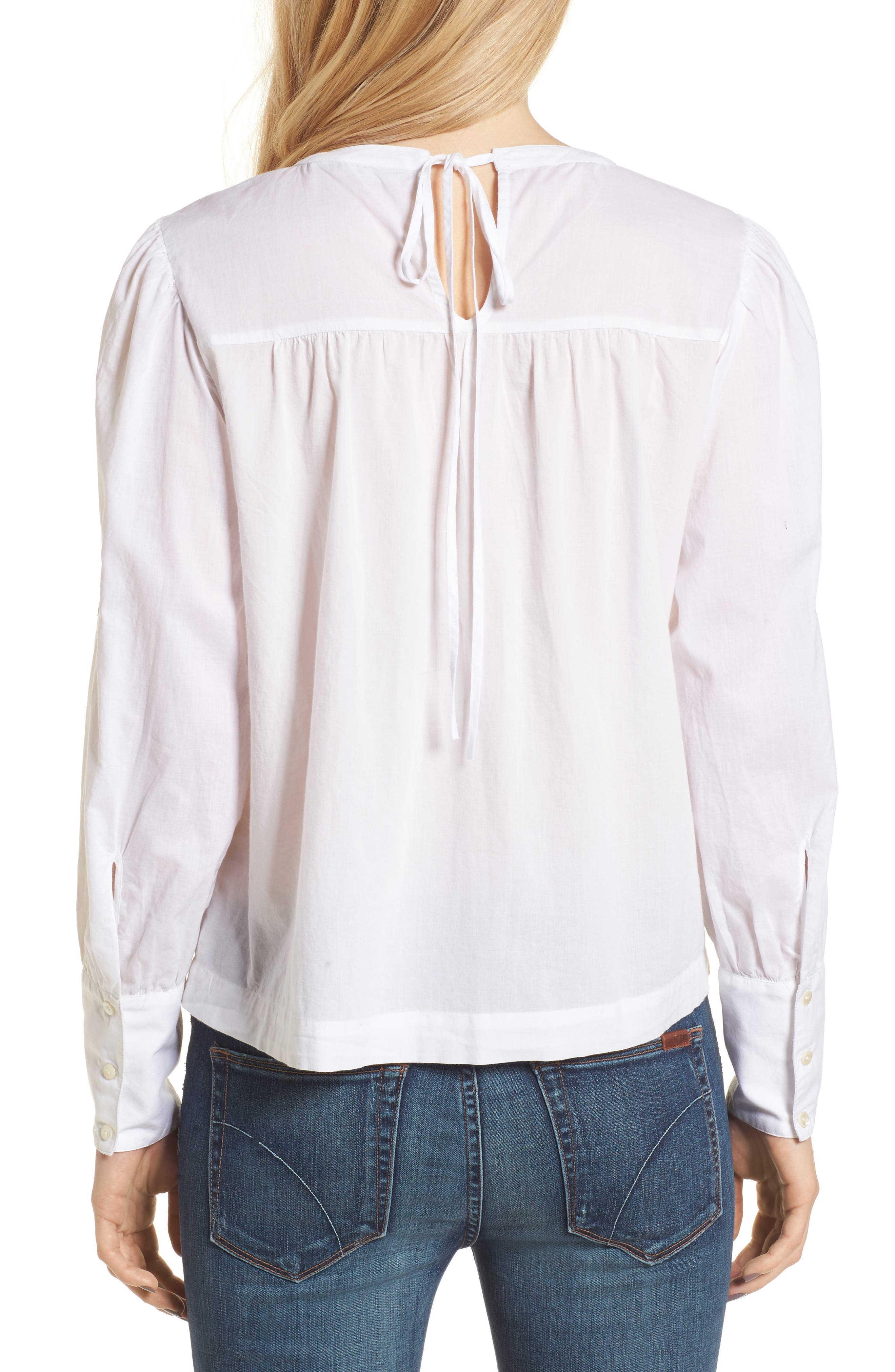 Embroidered Top,                             Alternate thumbnail 2, color,                             White Combo