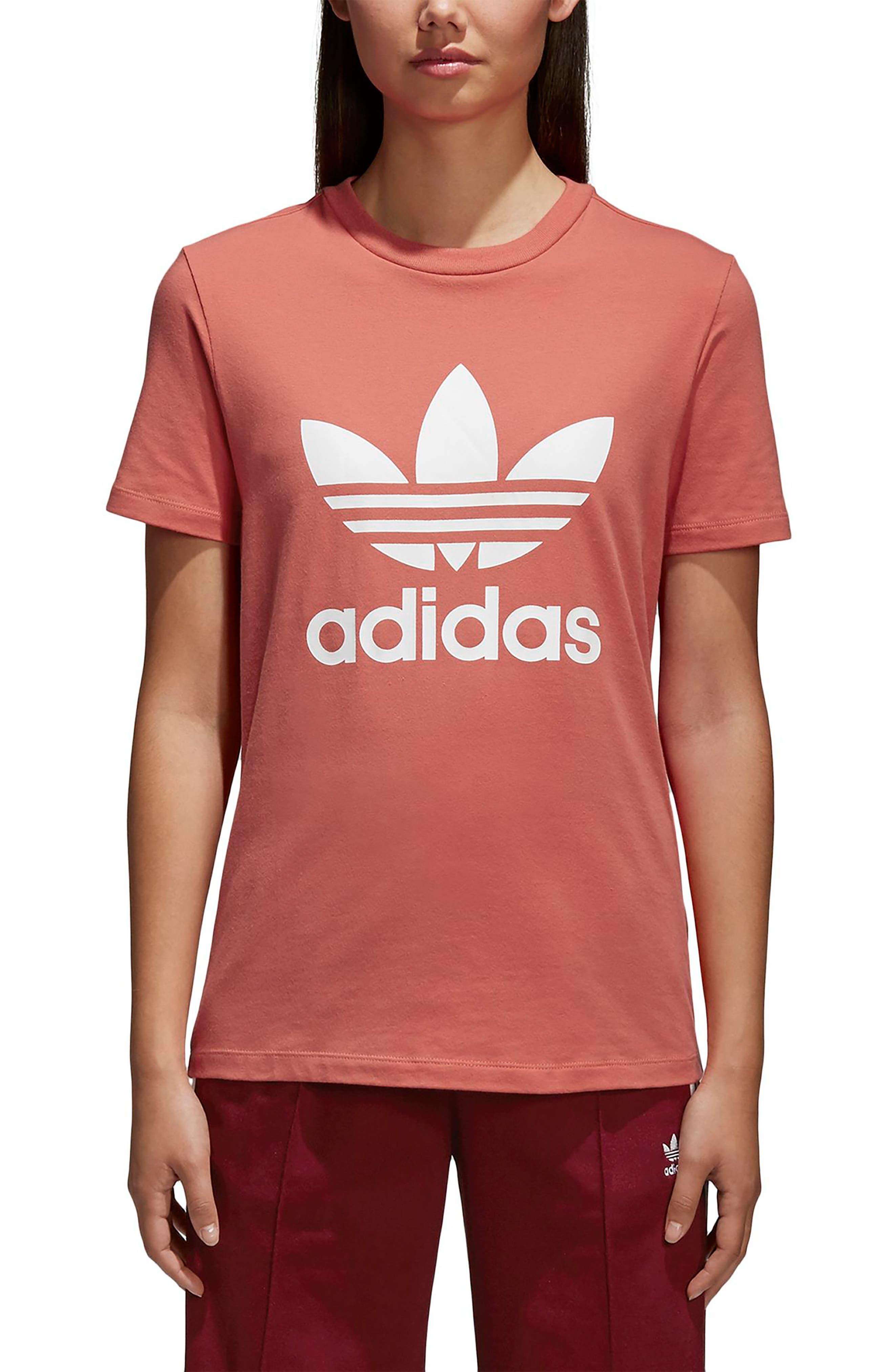 Trefoil Tee,                         Main,                         color, Trace Scarlet/ White