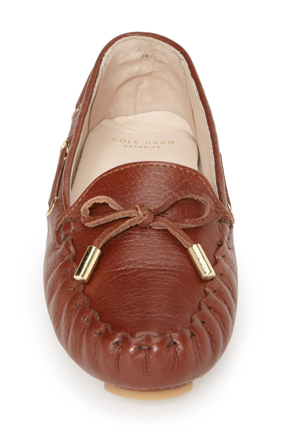 'Cary' Leather Driving Flat,                             Alternate thumbnail 4, color,                             Woodbury