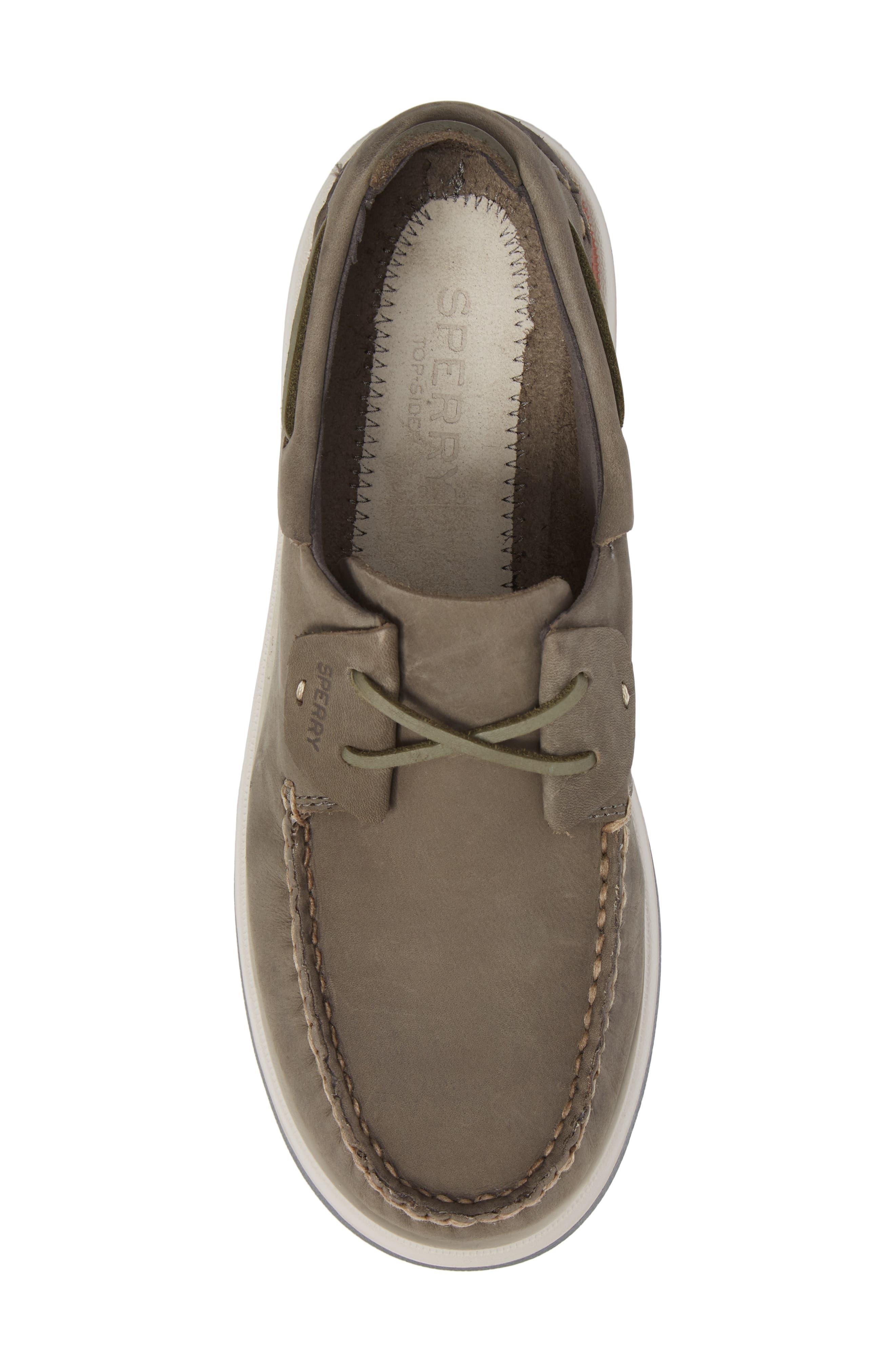 Caspian Boat Shoe,                             Alternate thumbnail 5, color,                             Grey Leather