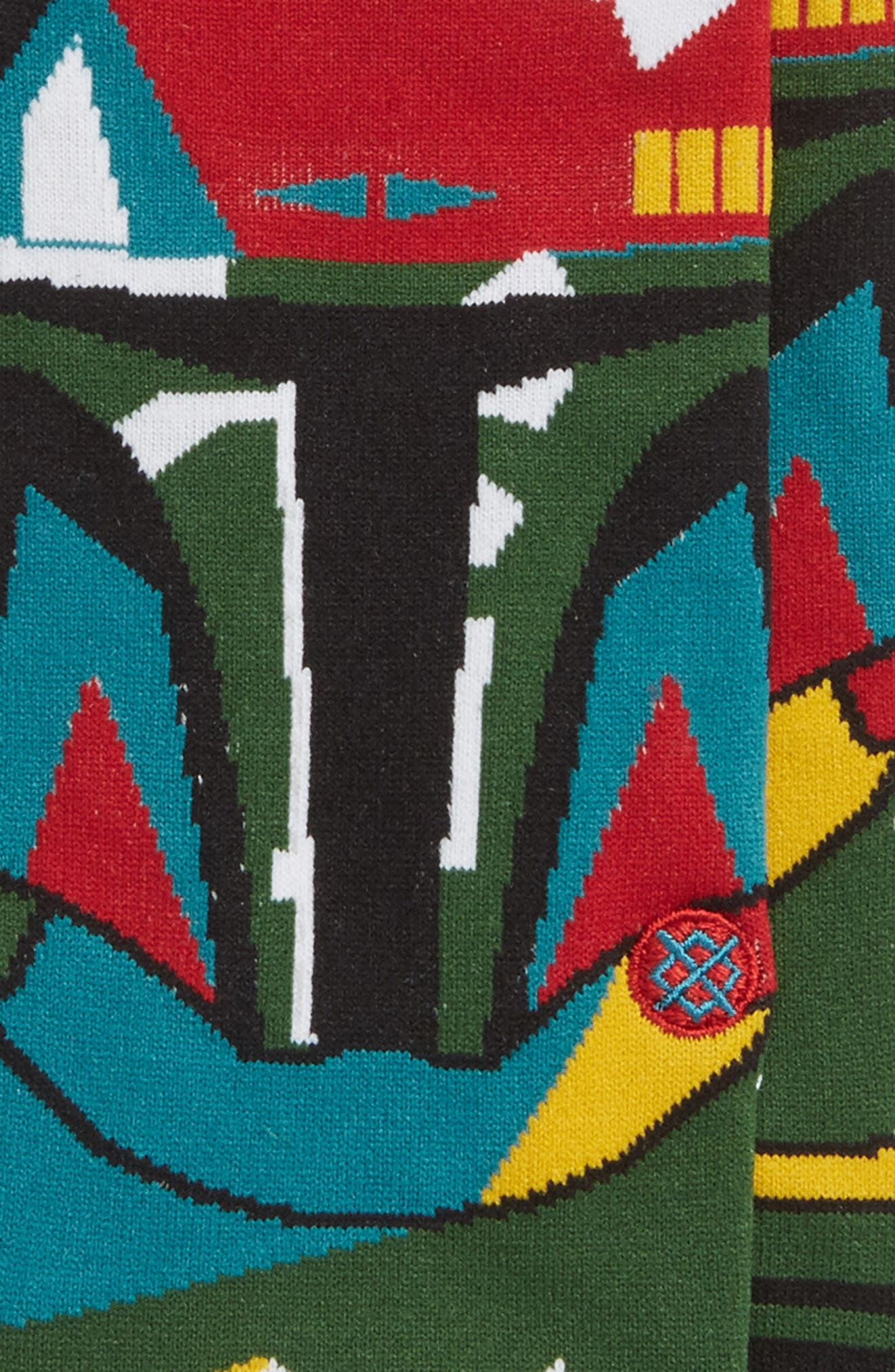 x Star Wars Boba Mosaic Socks,                             Alternate thumbnail 2, color,                             Black