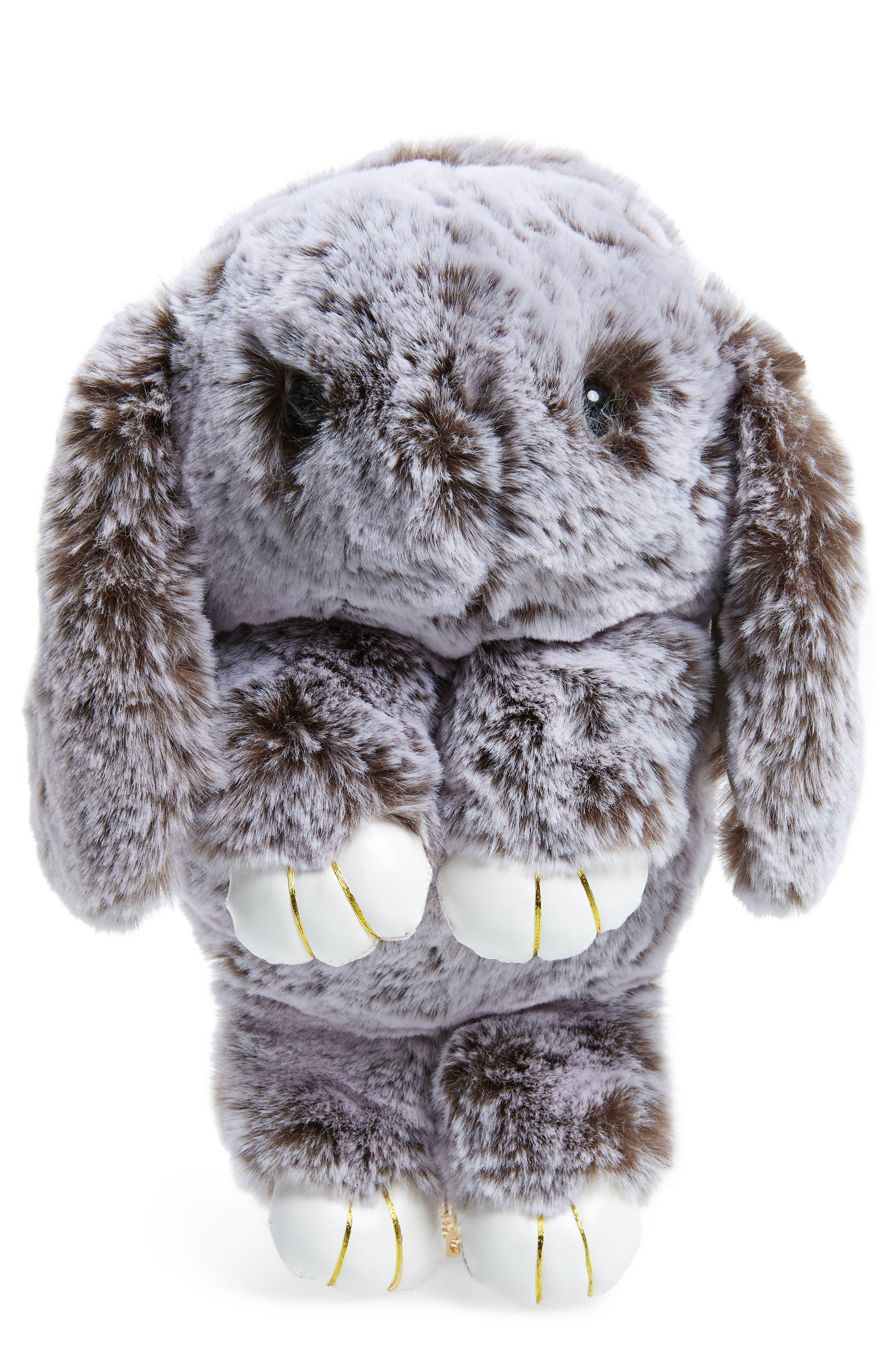 Cara Plush Bunny Backpack,                             Main thumbnail 1, color,                             Grey