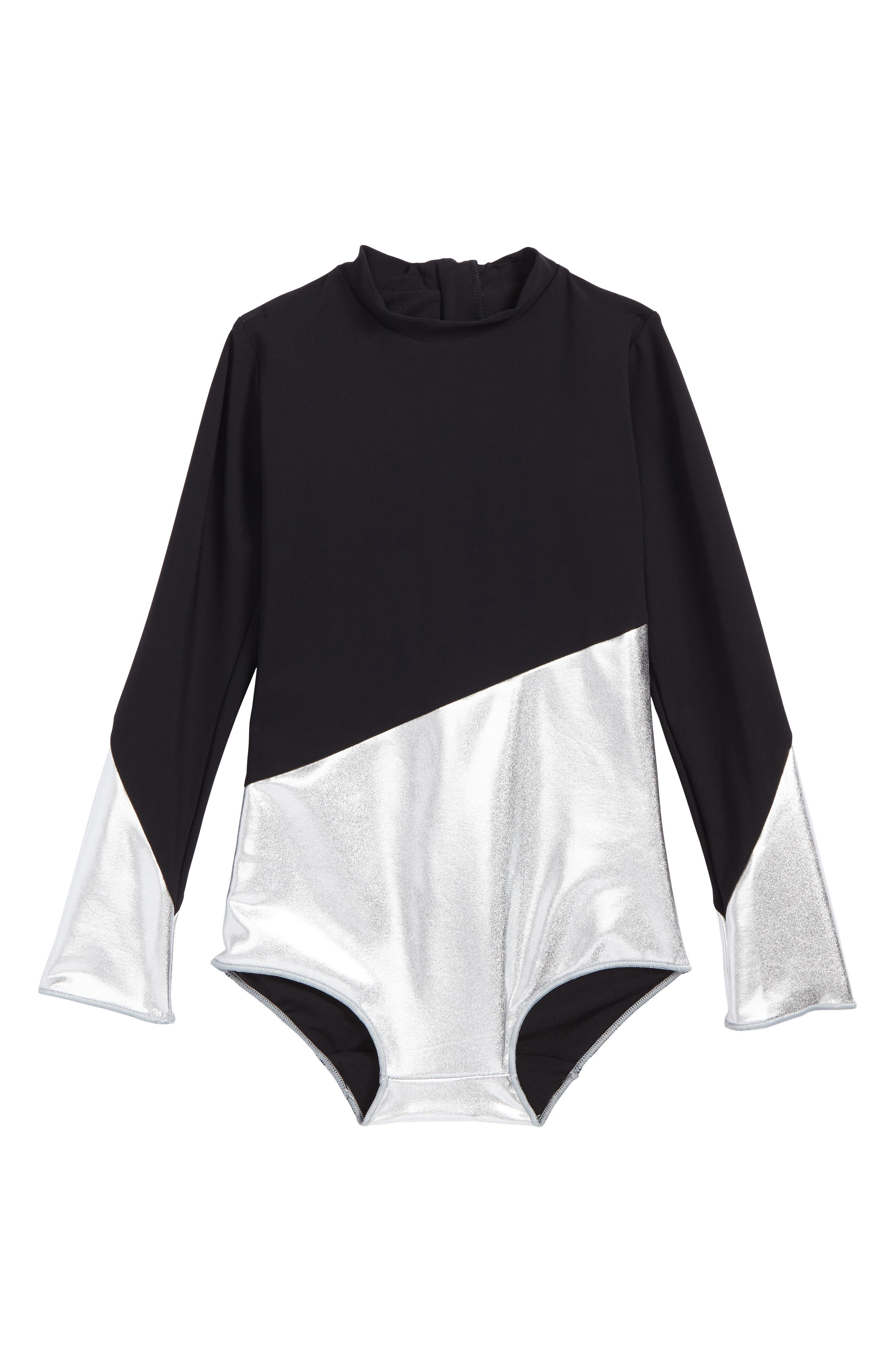 Long Sleeve One-Piece Swimsuit,                         Main,                         color, Black Silver