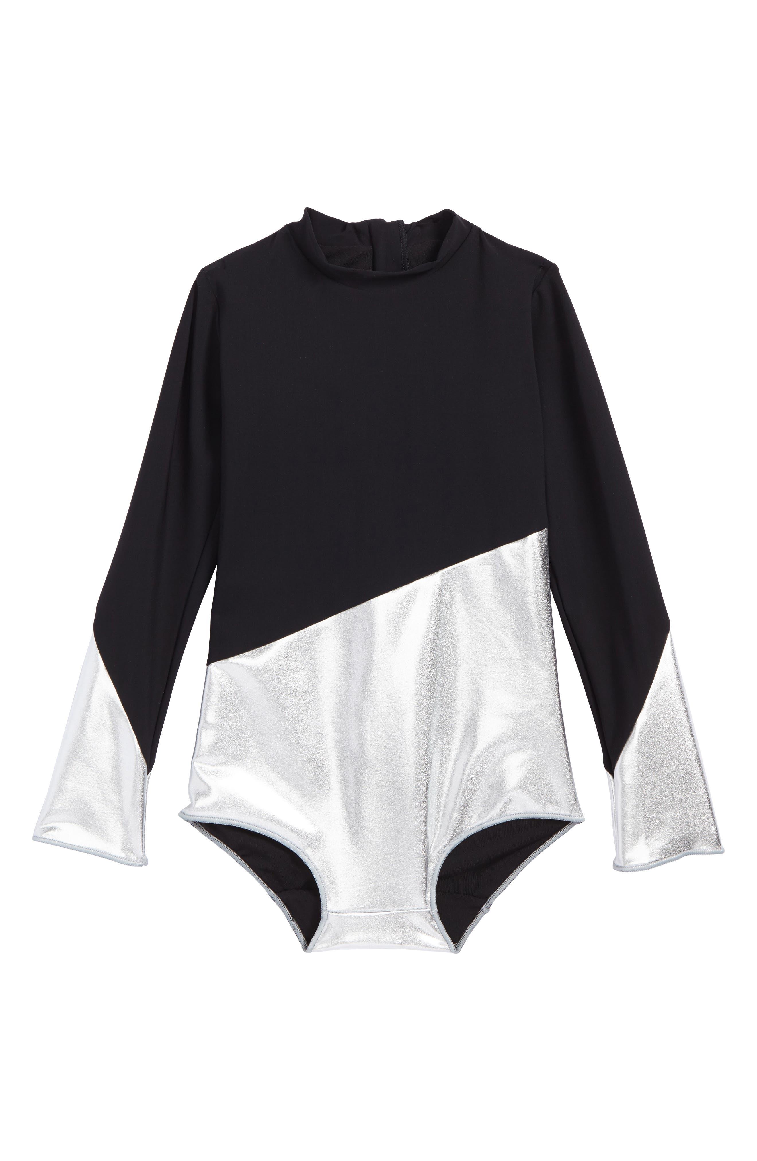 NUNUNU Long Sleeve One-Piece Swimsuit (Toddler Girls & Little Girls)
