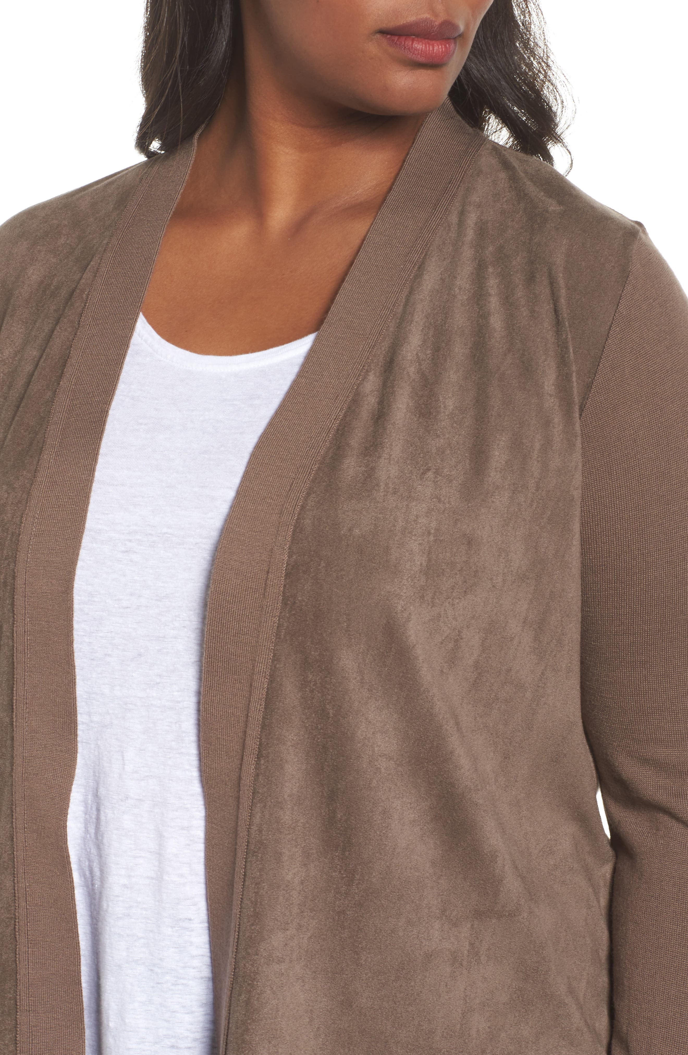 Marilena Faux Suede Front Cardigan,                             Alternate thumbnail 4, color,                             Dark Beige