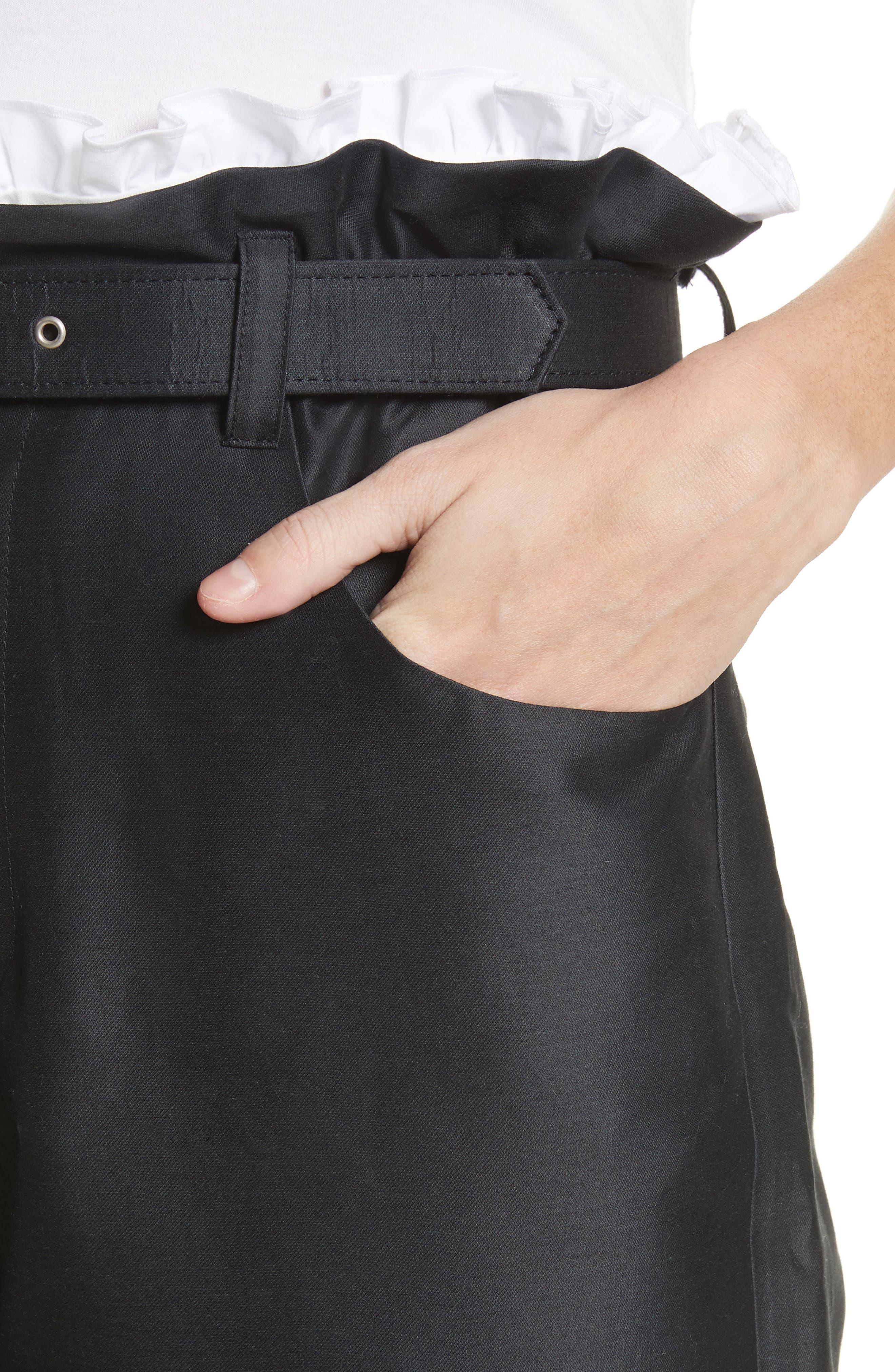 Paperbag Cotton & Silk Trousers,                             Alternate thumbnail 4, color,                             Black