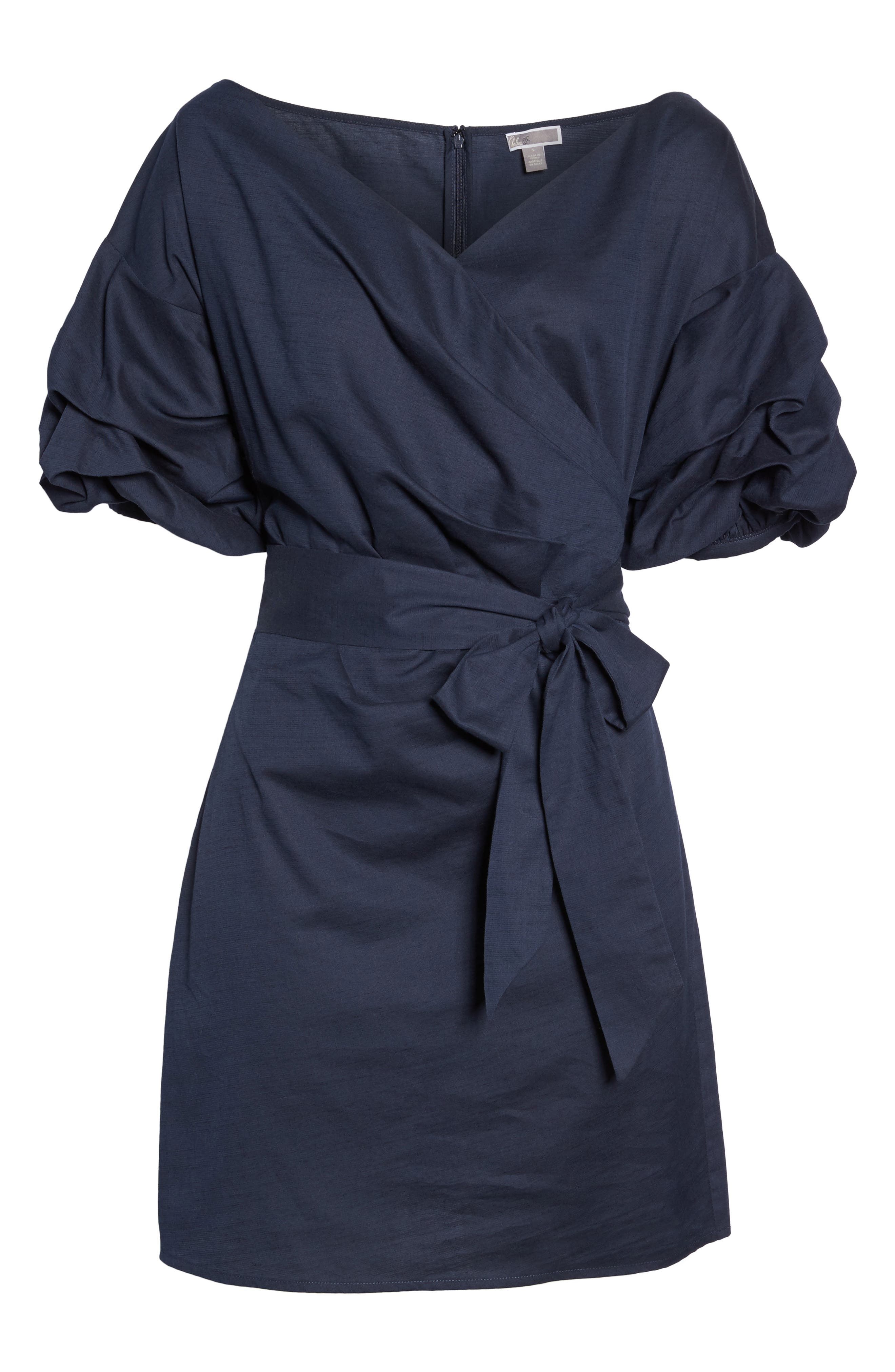 Billow Sleeve Dress,                             Alternate thumbnail 8, color,                             Navy Sapphire