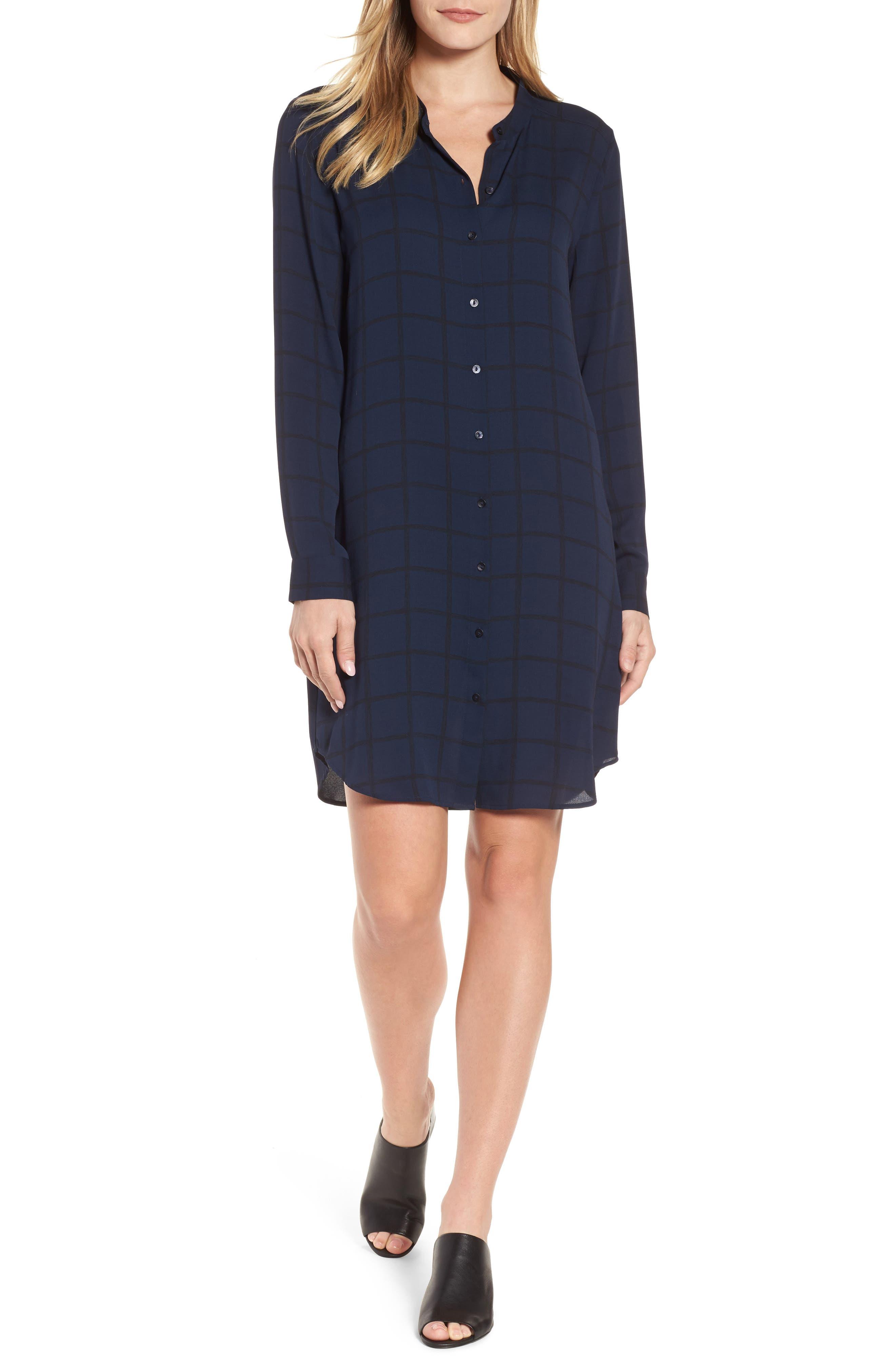 Alternate Image 1 Selected - Eileen Fisher Silk Shirtdress