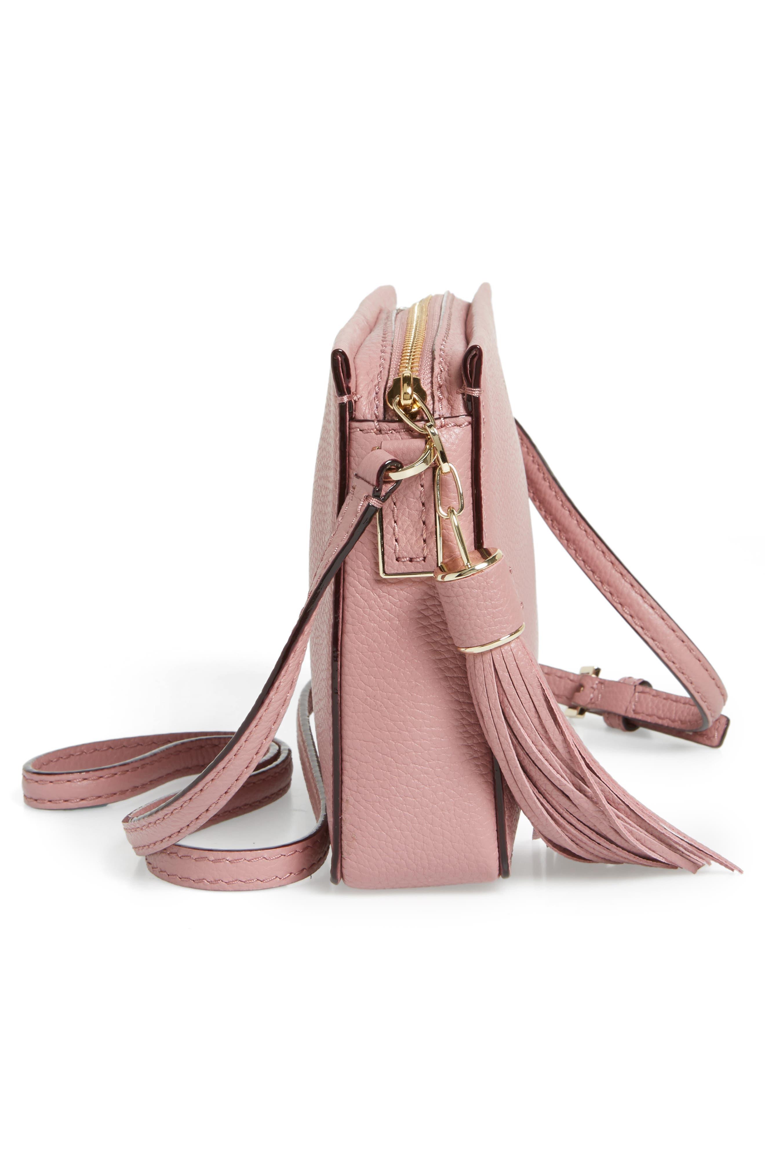 kingston drive - gillian leather crossbody bag,                             Alternate thumbnail 5, color,                             Dusty Peony