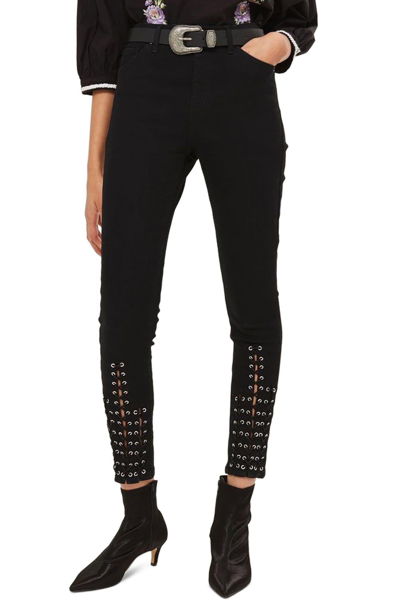 Alternate Image 1 Selected - Topshop Lattice Crop Skinny Jeans