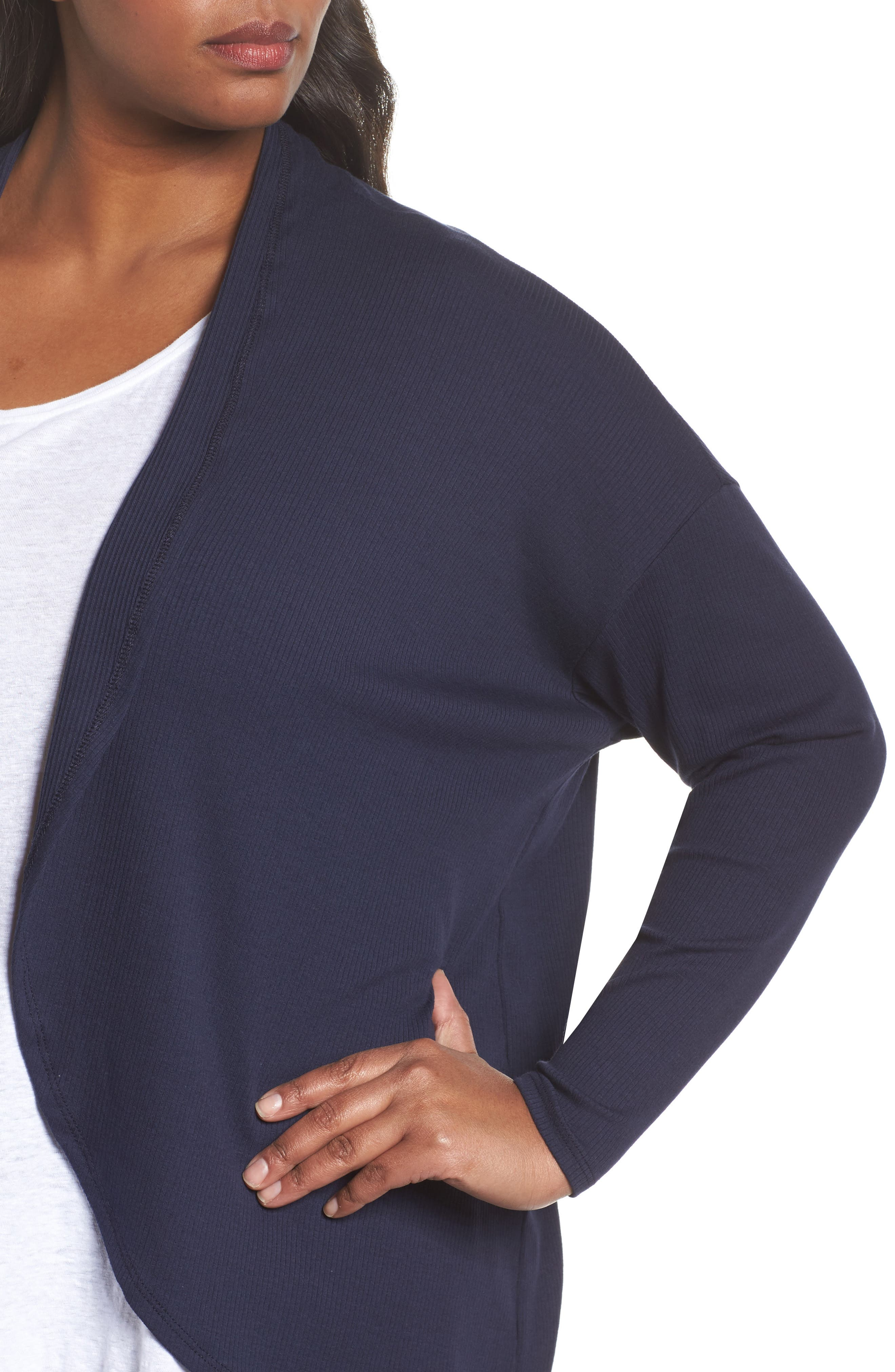 Ribbed Cocoon Cardigan,                             Alternate thumbnail 4, color,                             Navy Peacoat