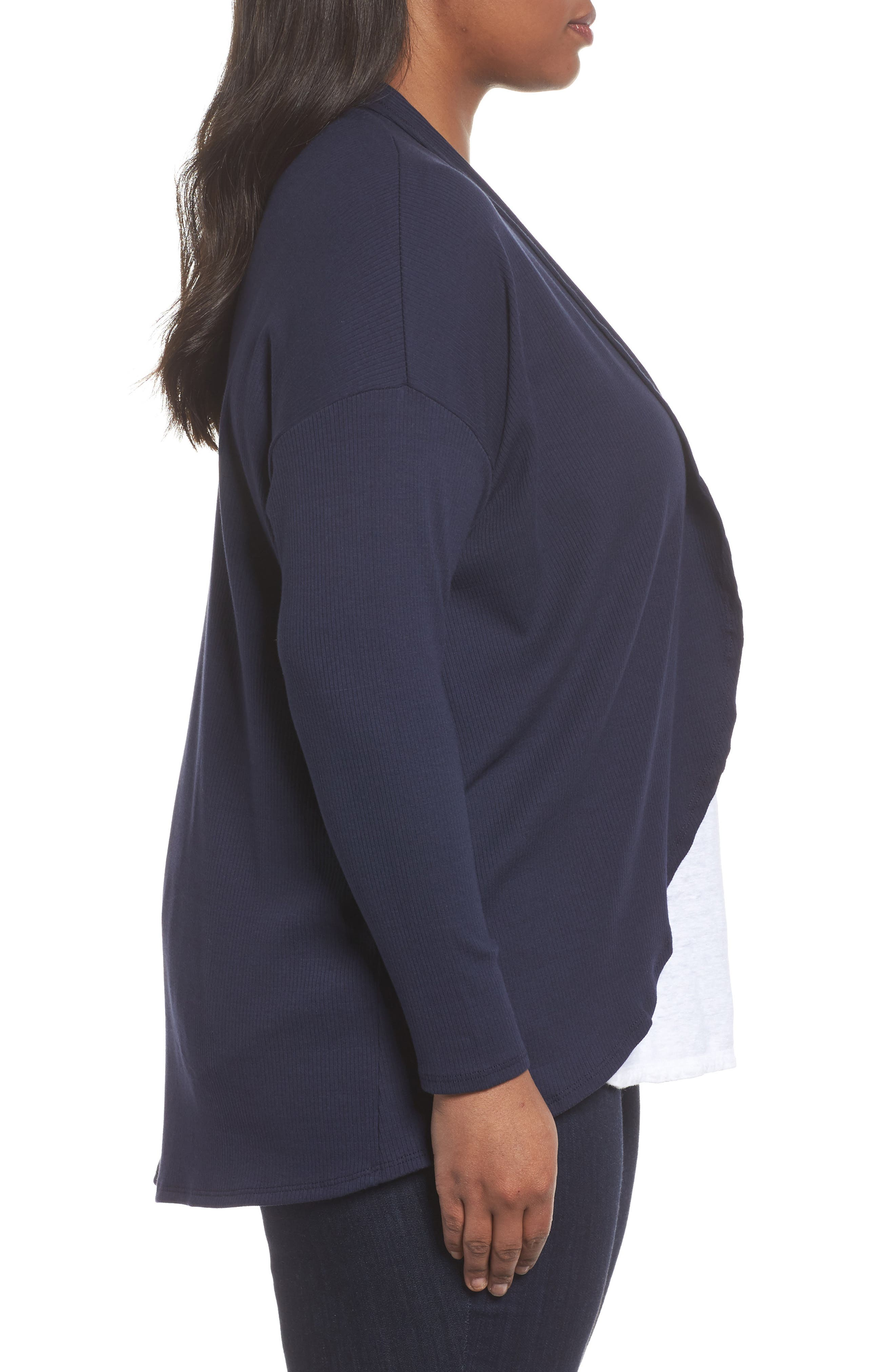 Ribbed Cocoon Cardigan,                             Alternate thumbnail 3, color,                             Navy Peacoat