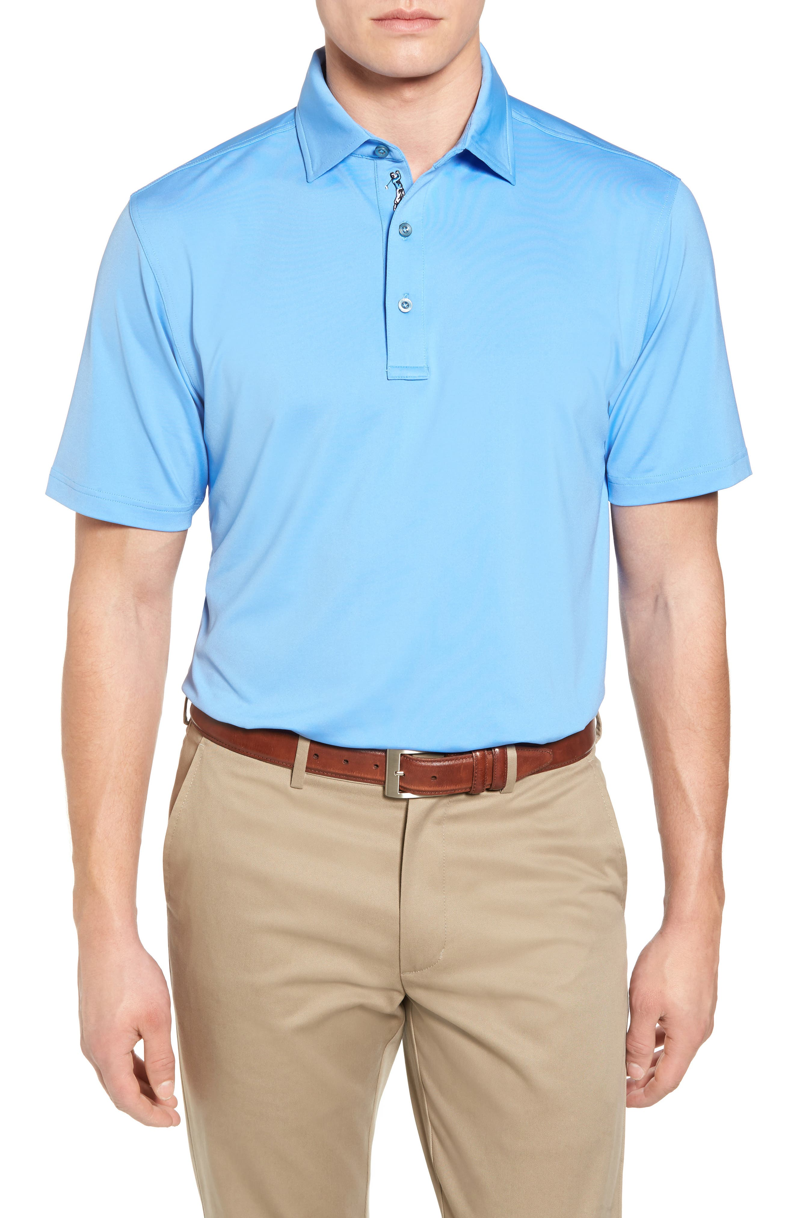 XH20 Regular Fit Stretch Golf Polo,                         Main,                         color, Sky Blue