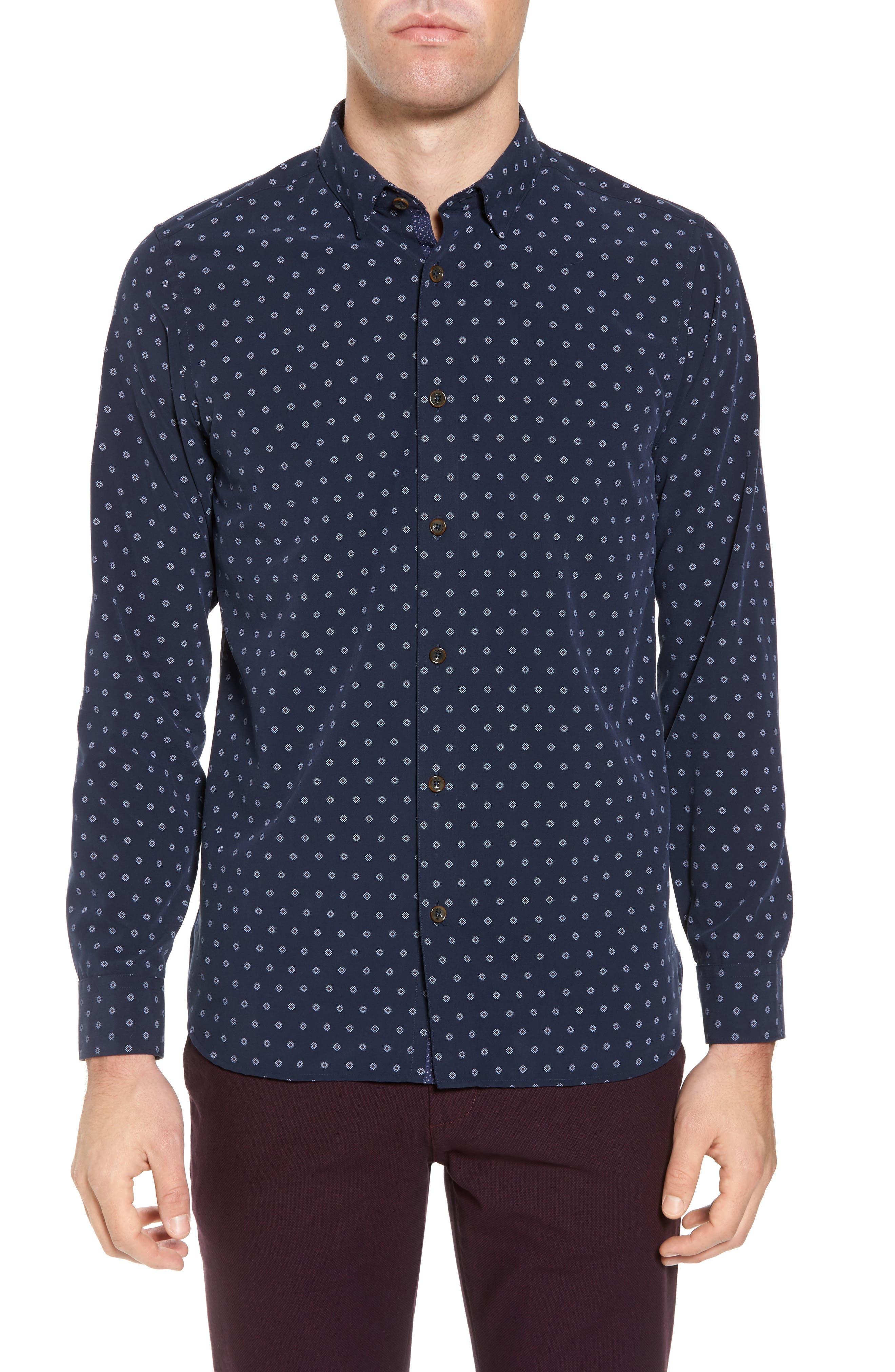 Ilensky Micro Diamond Trim Sport Shirt,                         Main,                         color, Navy