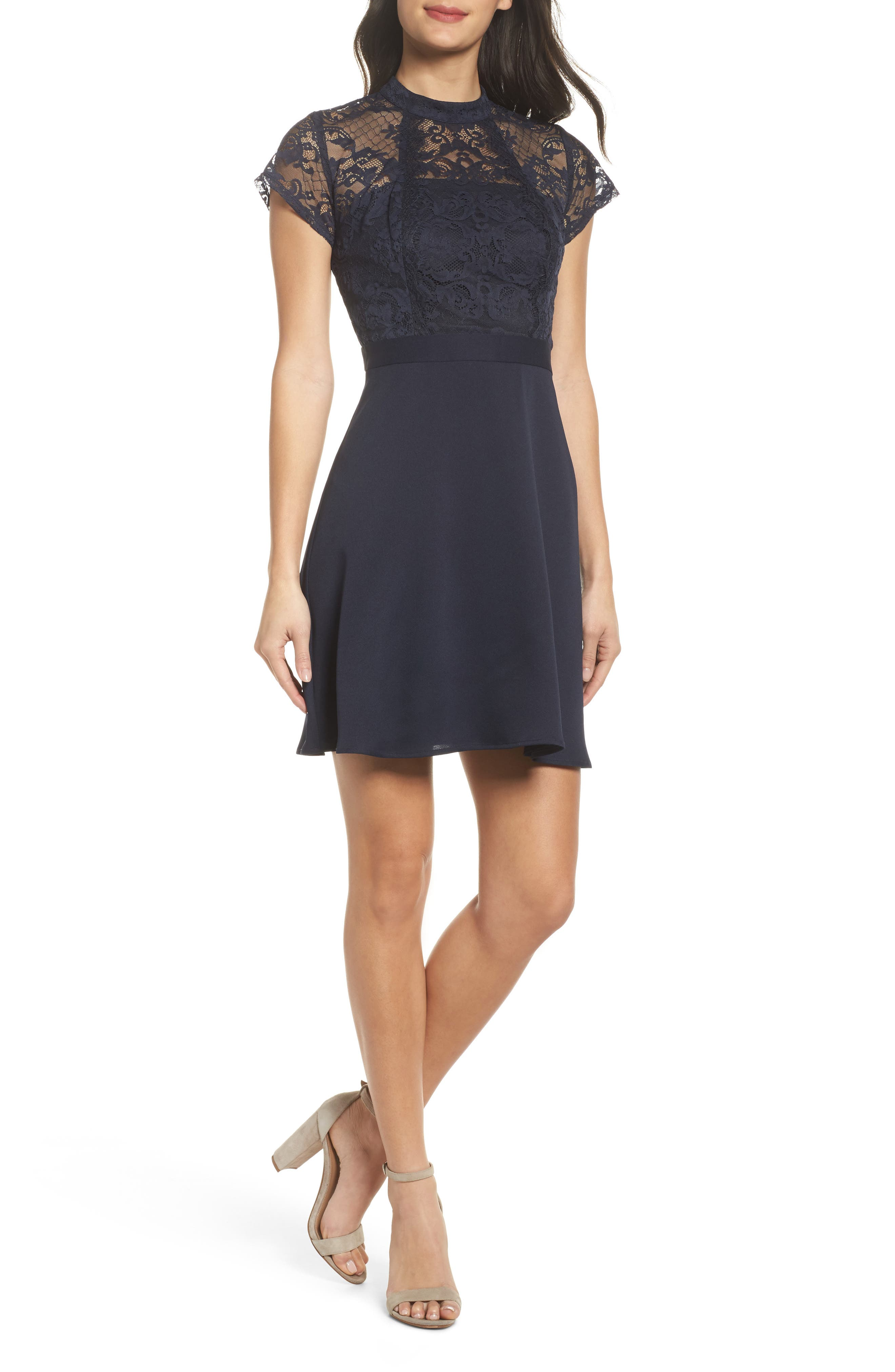 Lace Fit & Flare Dress,                         Main,                         color, Admiral Blue
