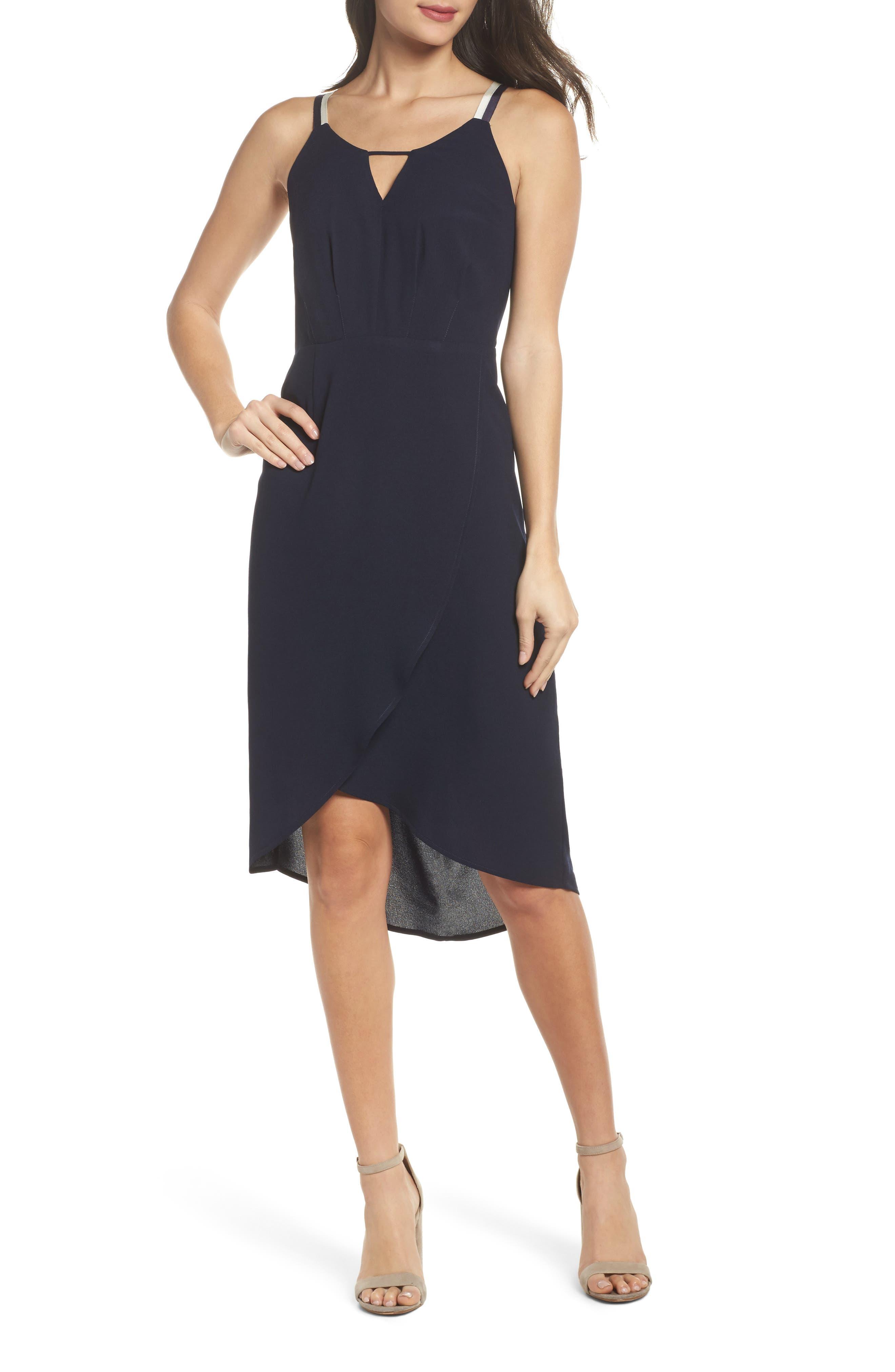 High/Low Midi Dress,                         Main,                         color, Navy