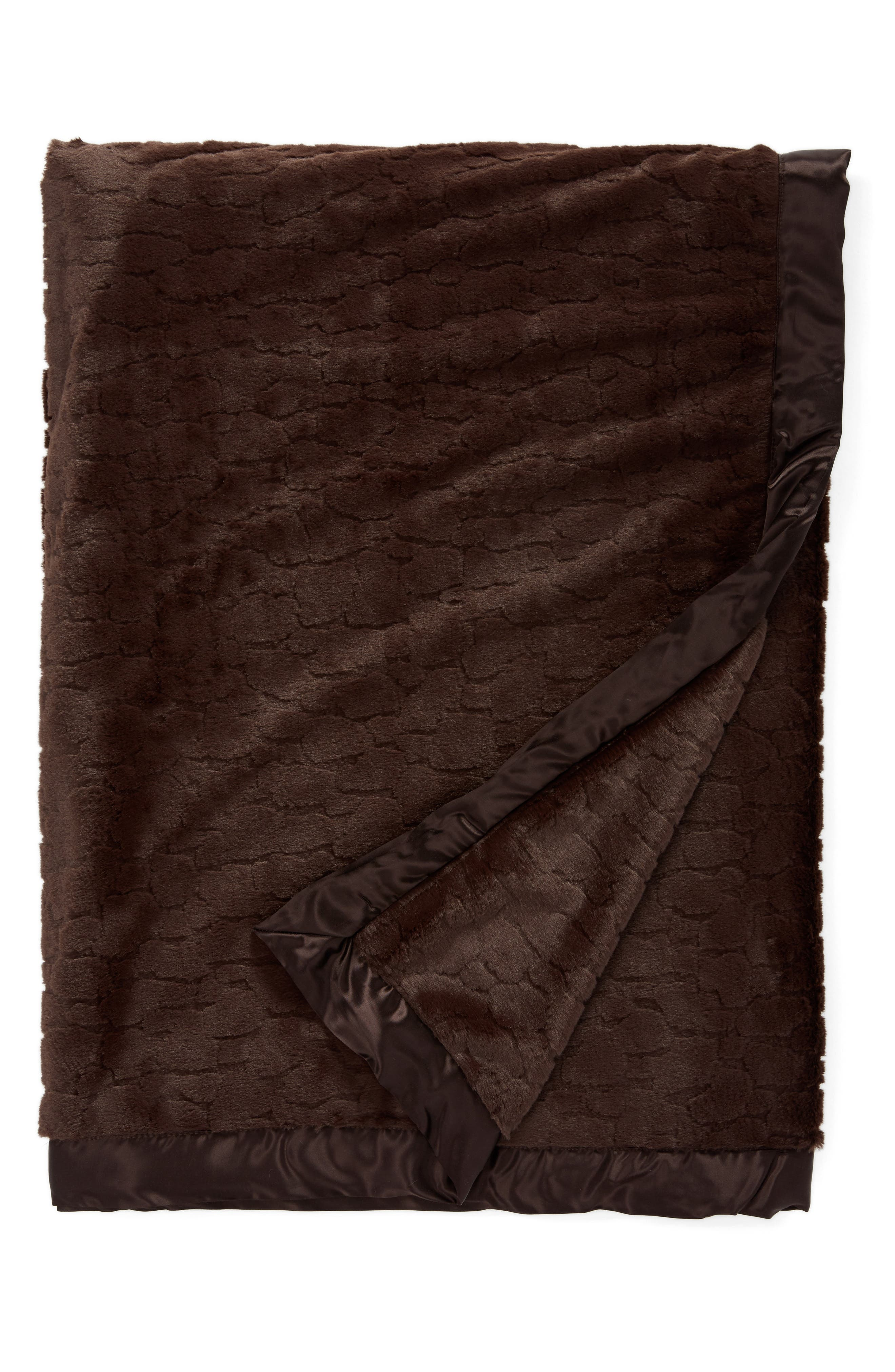 Luxe<sup>™</sup> XL Embossed Throw,                             Main thumbnail 1, color,                             Chocolate