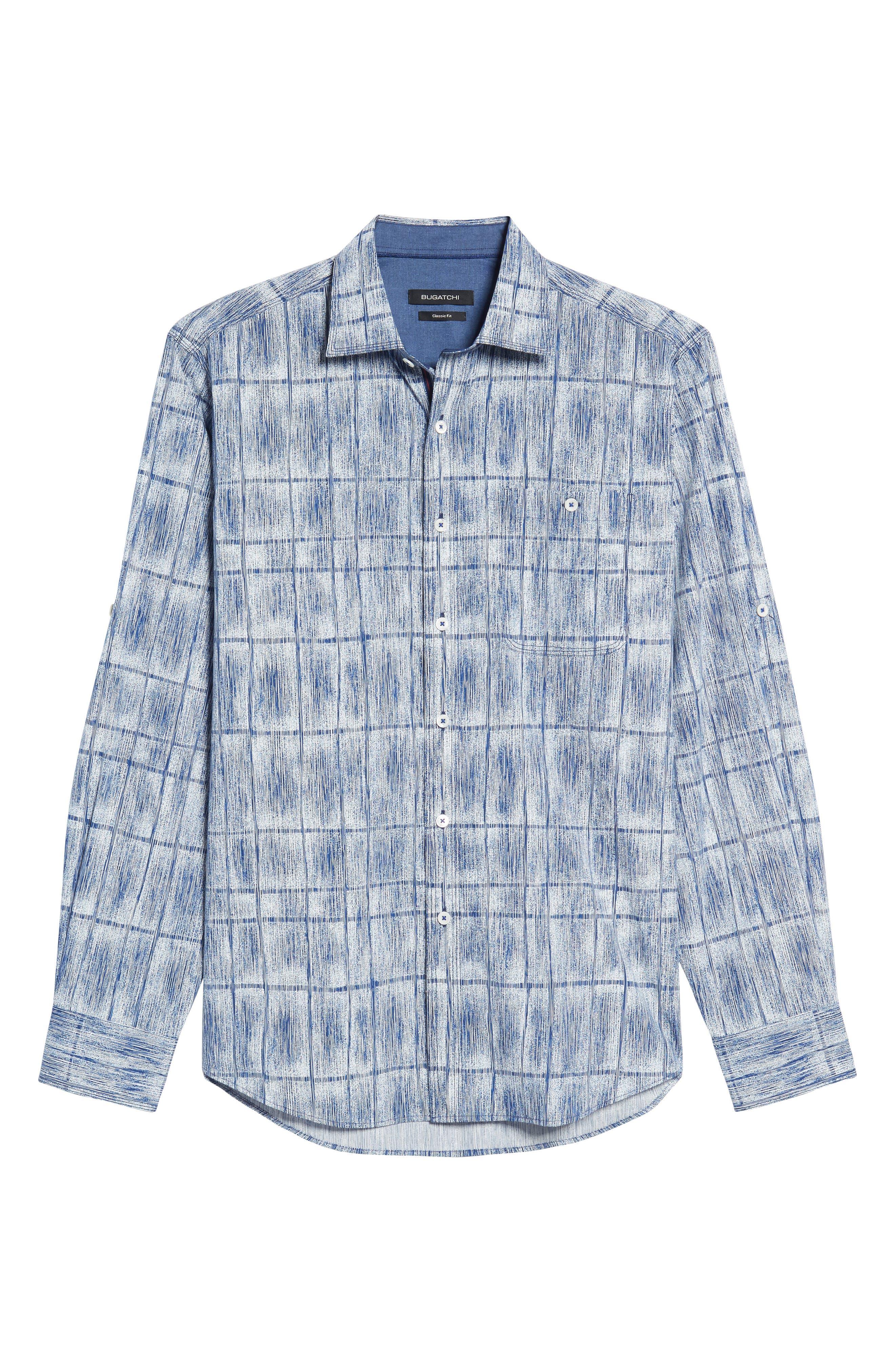 Classic Fit Print Sport Shirt,                             Alternate thumbnail 6, color,                             Cobalt