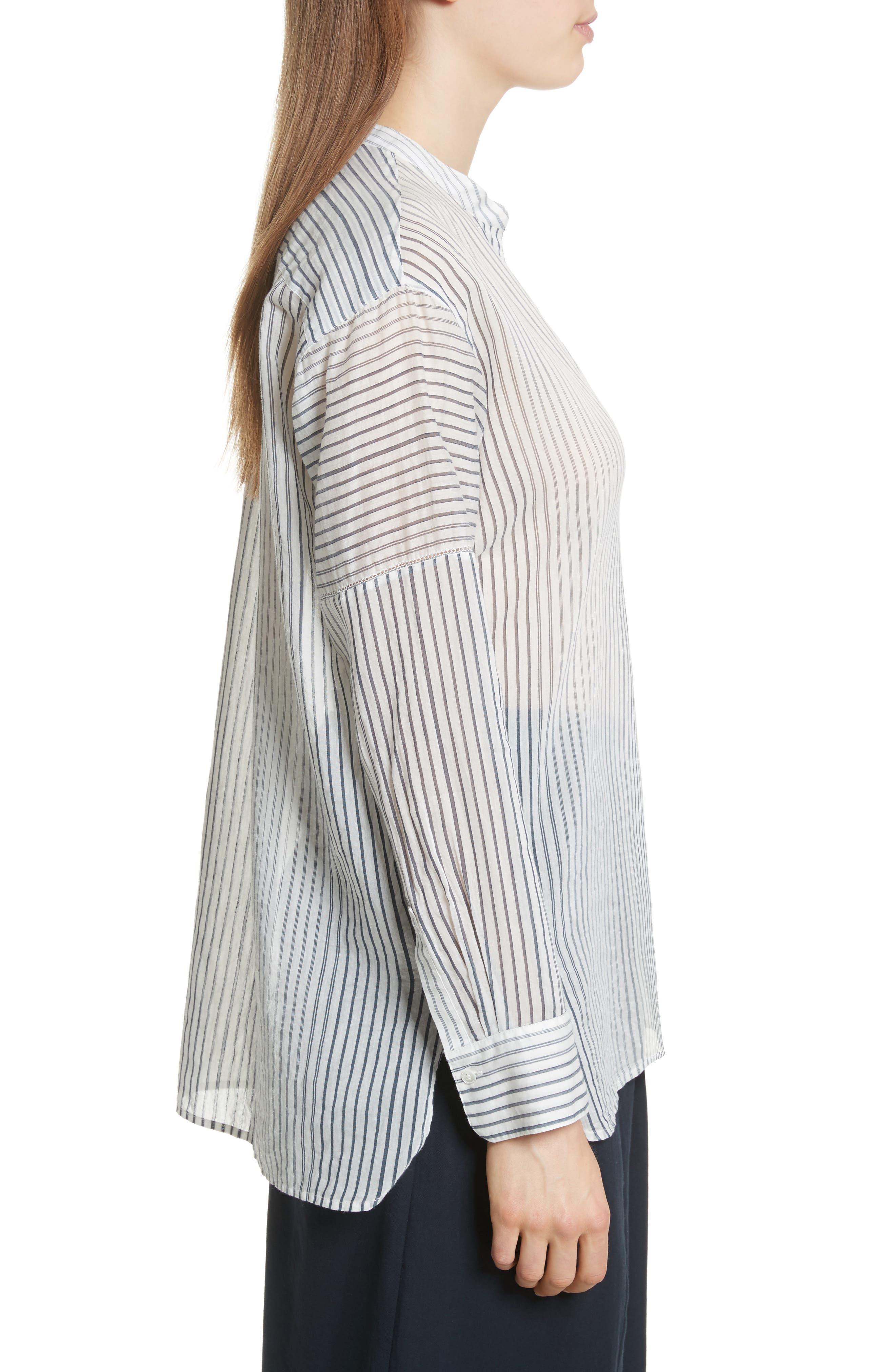 Pencil Stripe Cotton & Silk Tunic,                             Alternate thumbnail 3, color,                             Coastal