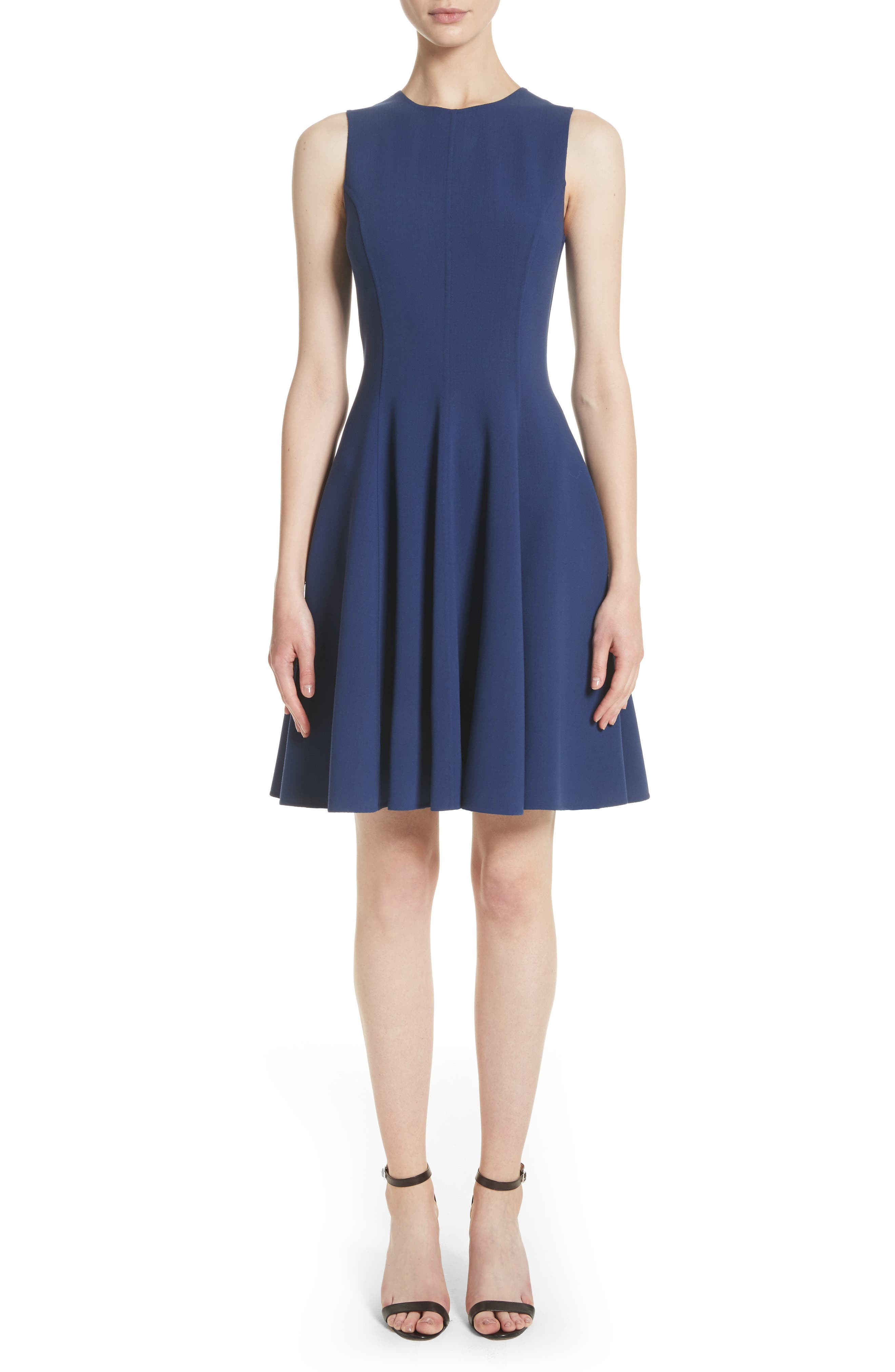 Stretch Wool Bell Dress,                         Main,                         color, Sapphire