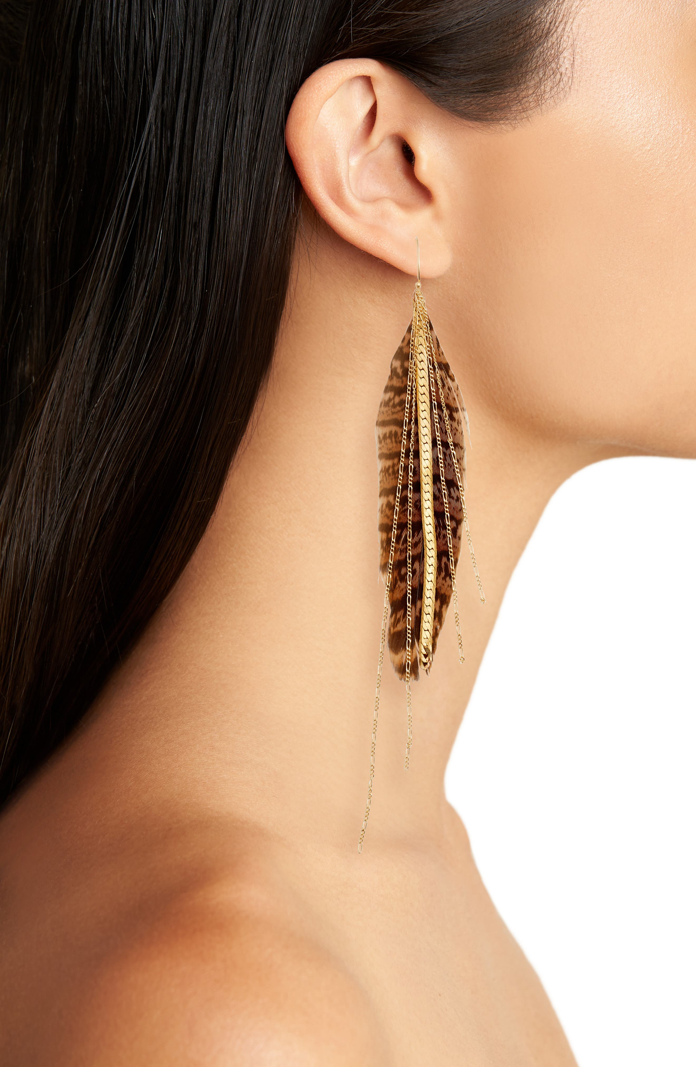 Chain & Feather Earrings,                             Alternate thumbnail 2, color,                             Gold/ Tan