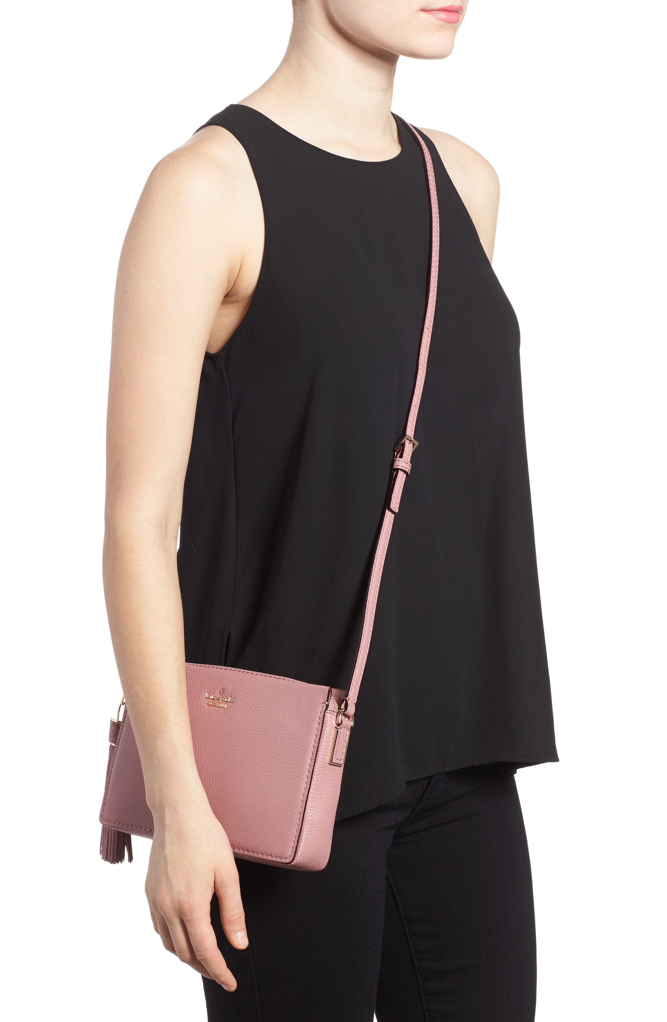 kingston drive - gillian leather crossbody bag,                             Alternate thumbnail 2, color,                             Dusty Peony