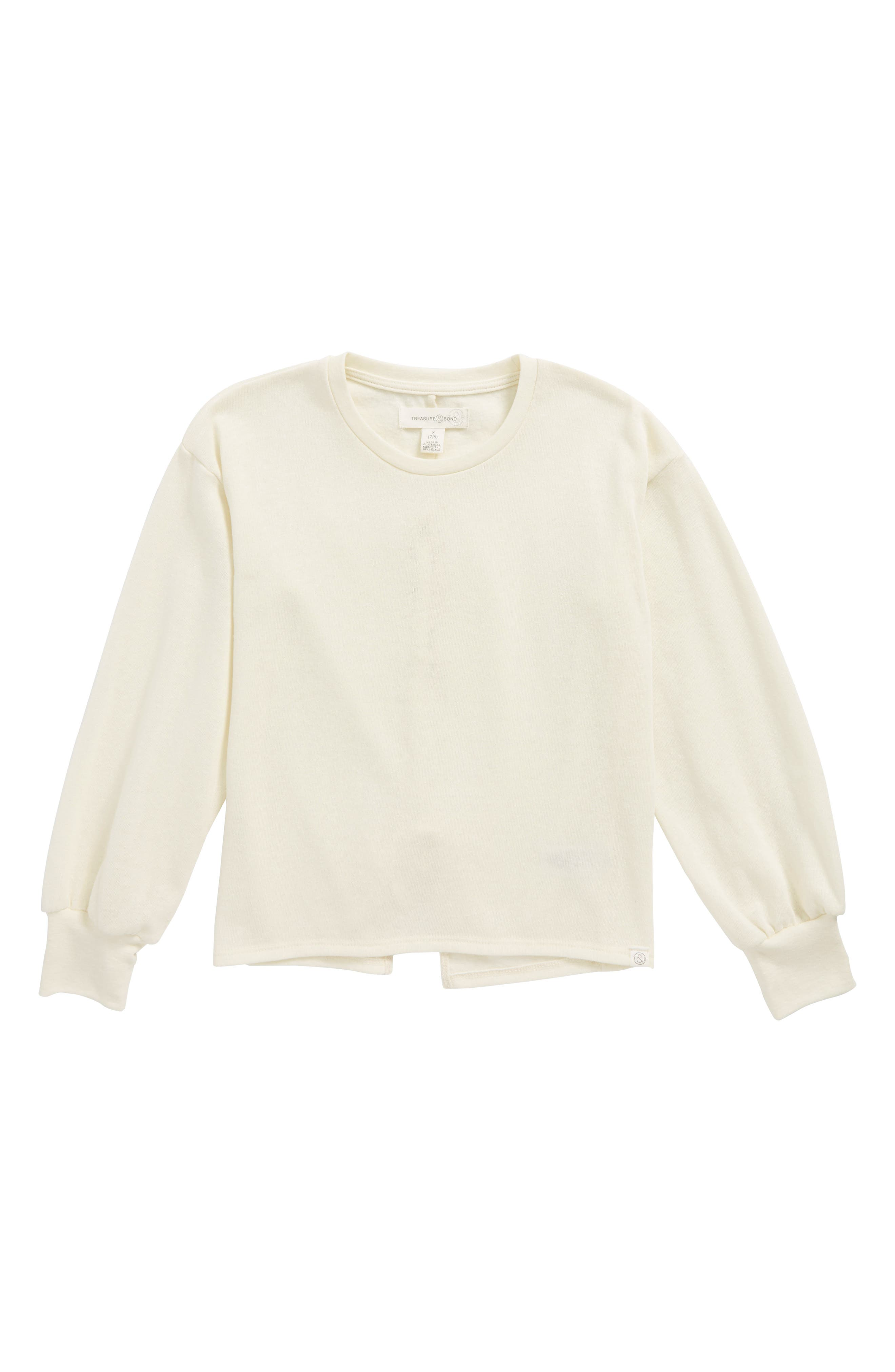 Lace-Up Back Fleece Pullover,                             Main thumbnail 1, color,                             Ivory Egret