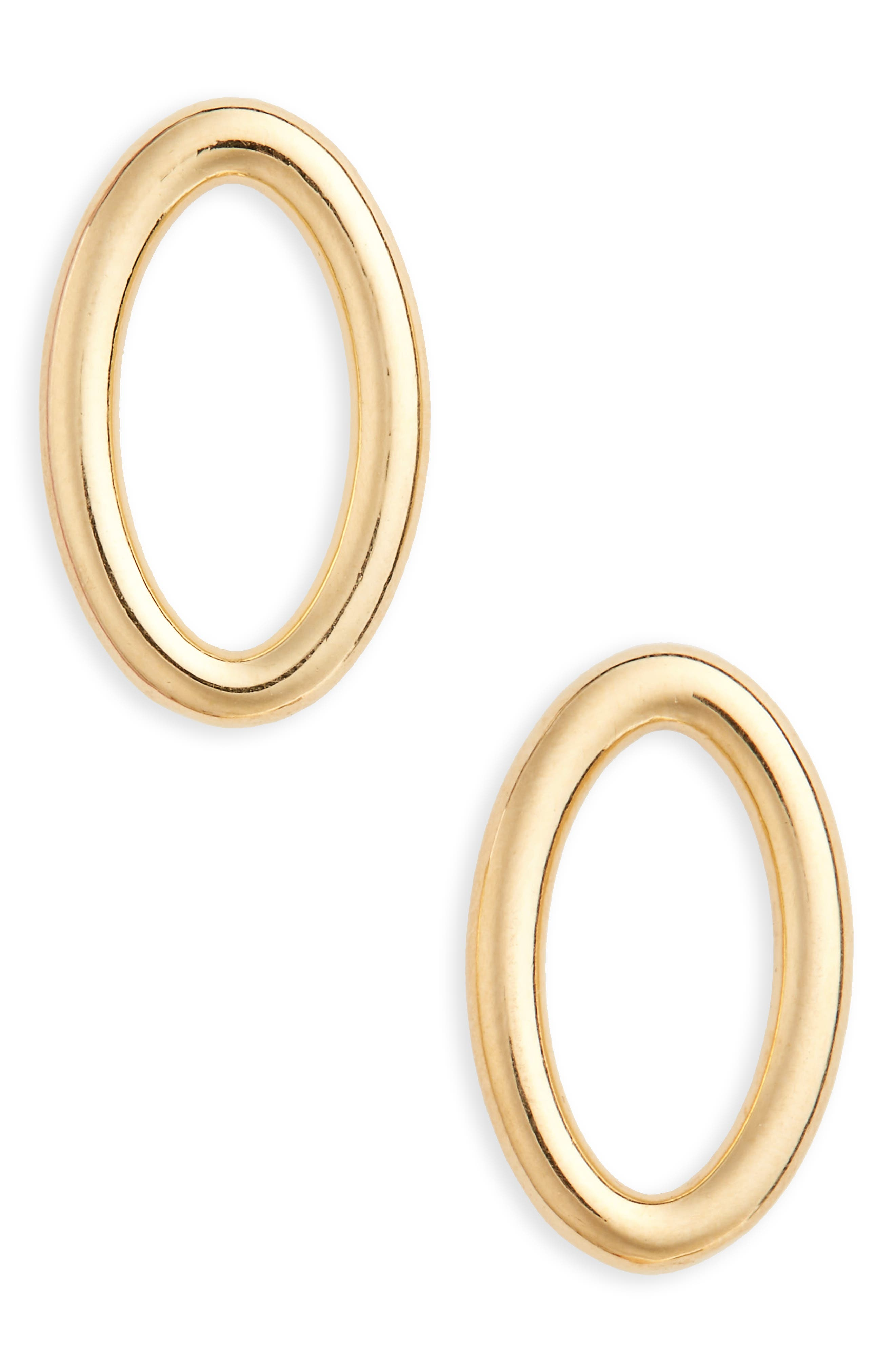 Small Ellipse Polished Earrings,                             Main thumbnail 1, color,                             Polished Vermeil