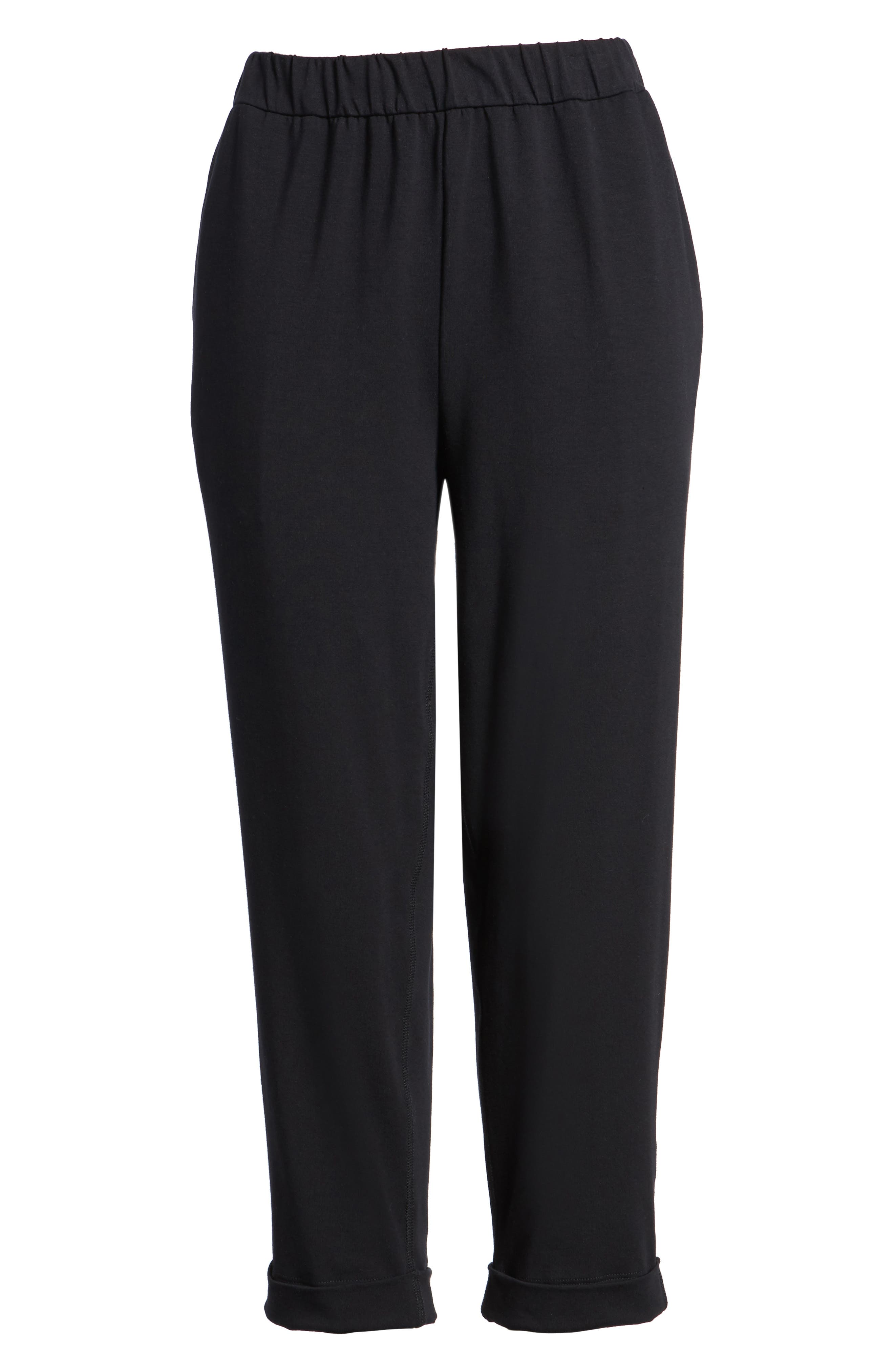 Stretch Organic Cotton Crop Pants,                             Alternate thumbnail 7, color,                             Black