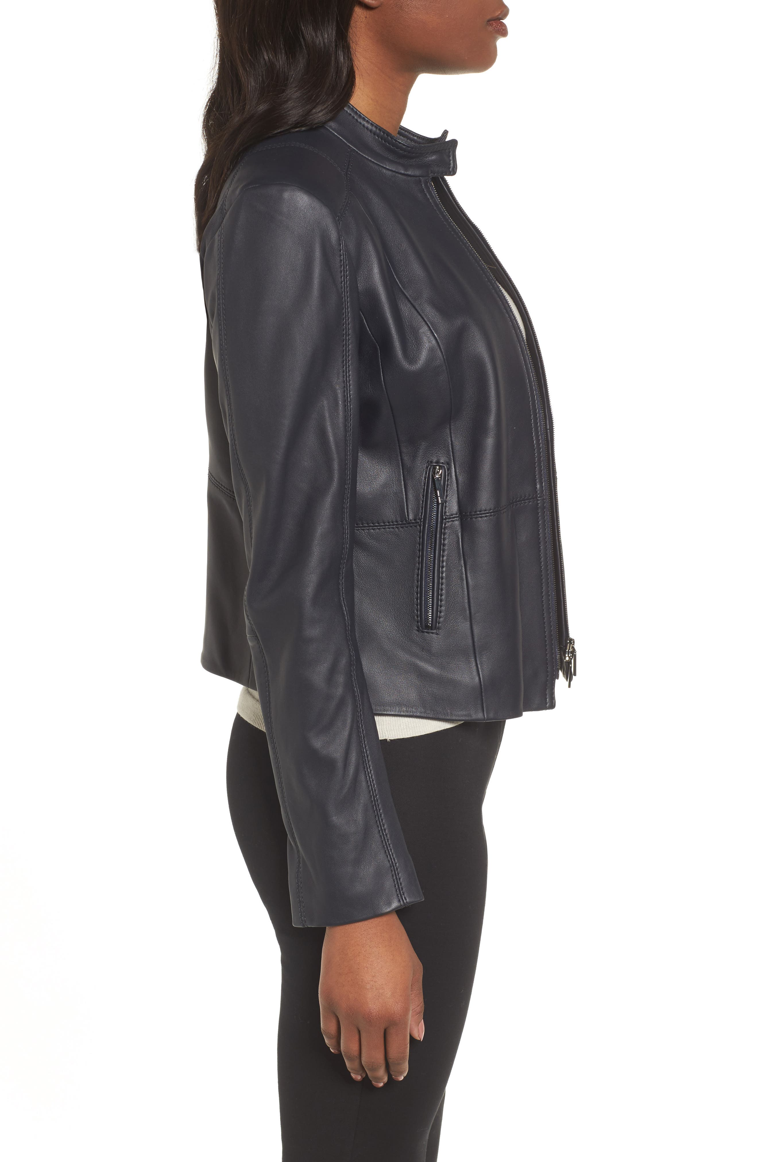 Sammonaie Leather Jacket,                             Alternate thumbnail 3, color,                             Navy
