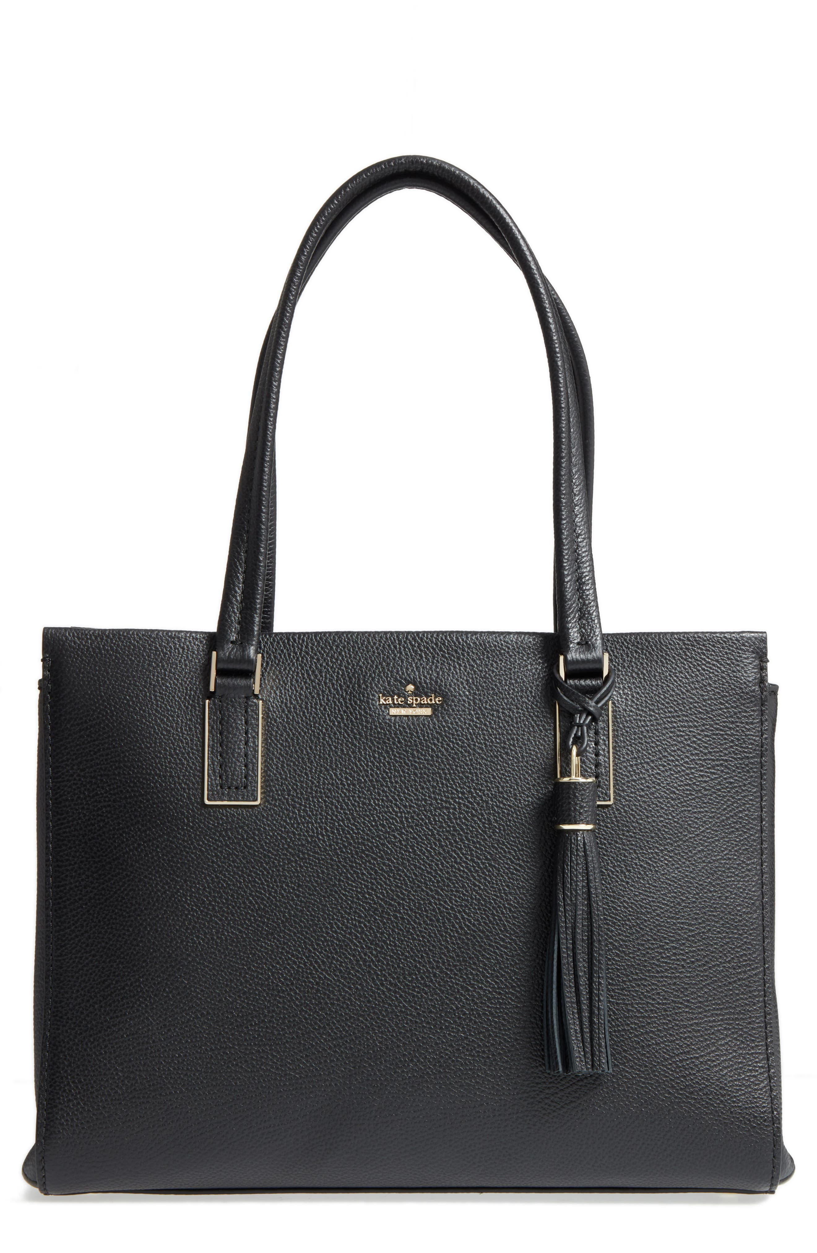 kingston drive - bartlett leather satchel,                             Main thumbnail 1, color,                             Black
