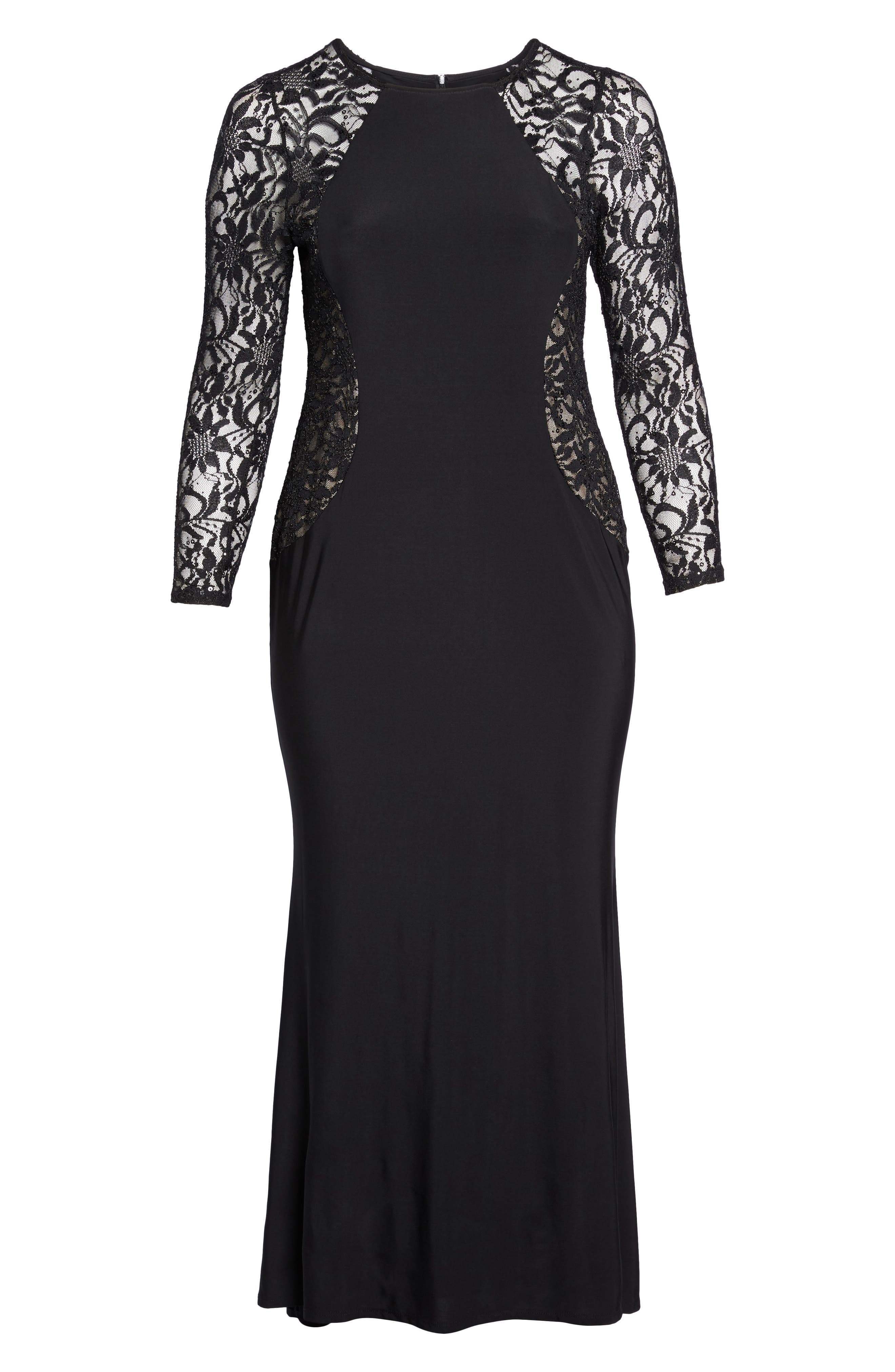 Alternate Image 6  - Marina Lace & Knit A-Line Gown (Plus Size)