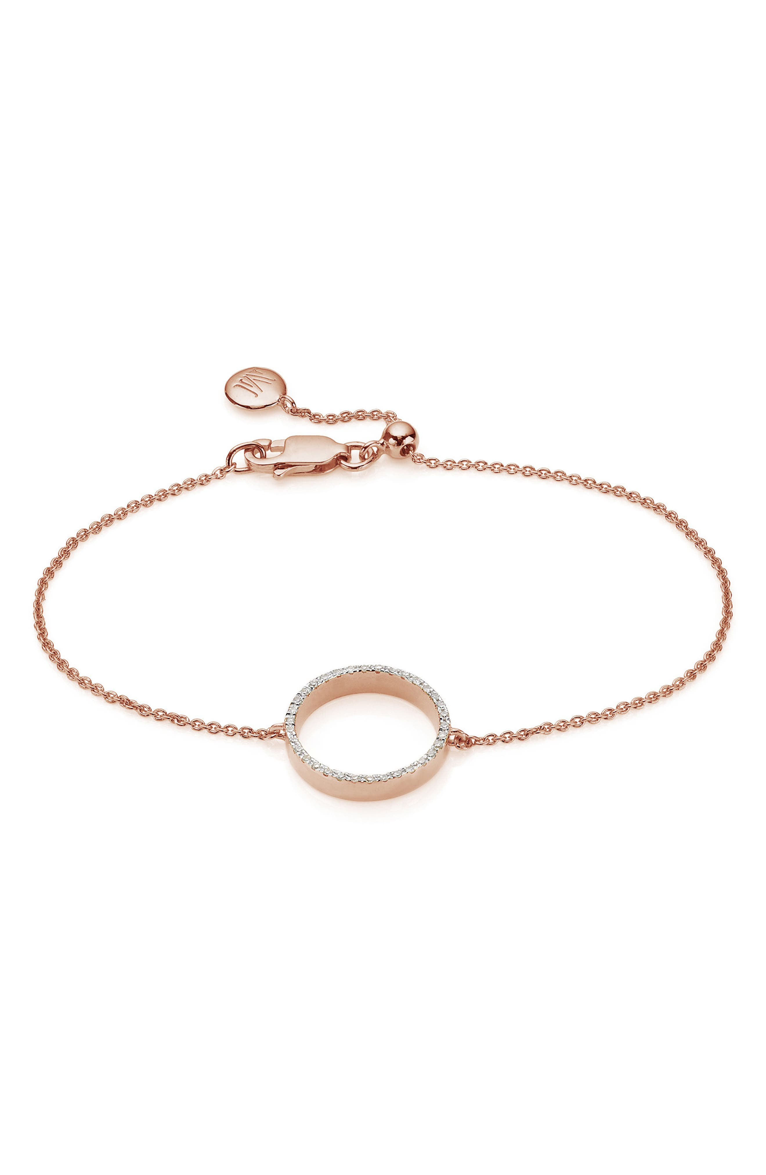 Naida Open Circle Diamond Bracelet,                         Main,                         color, Rose Gold