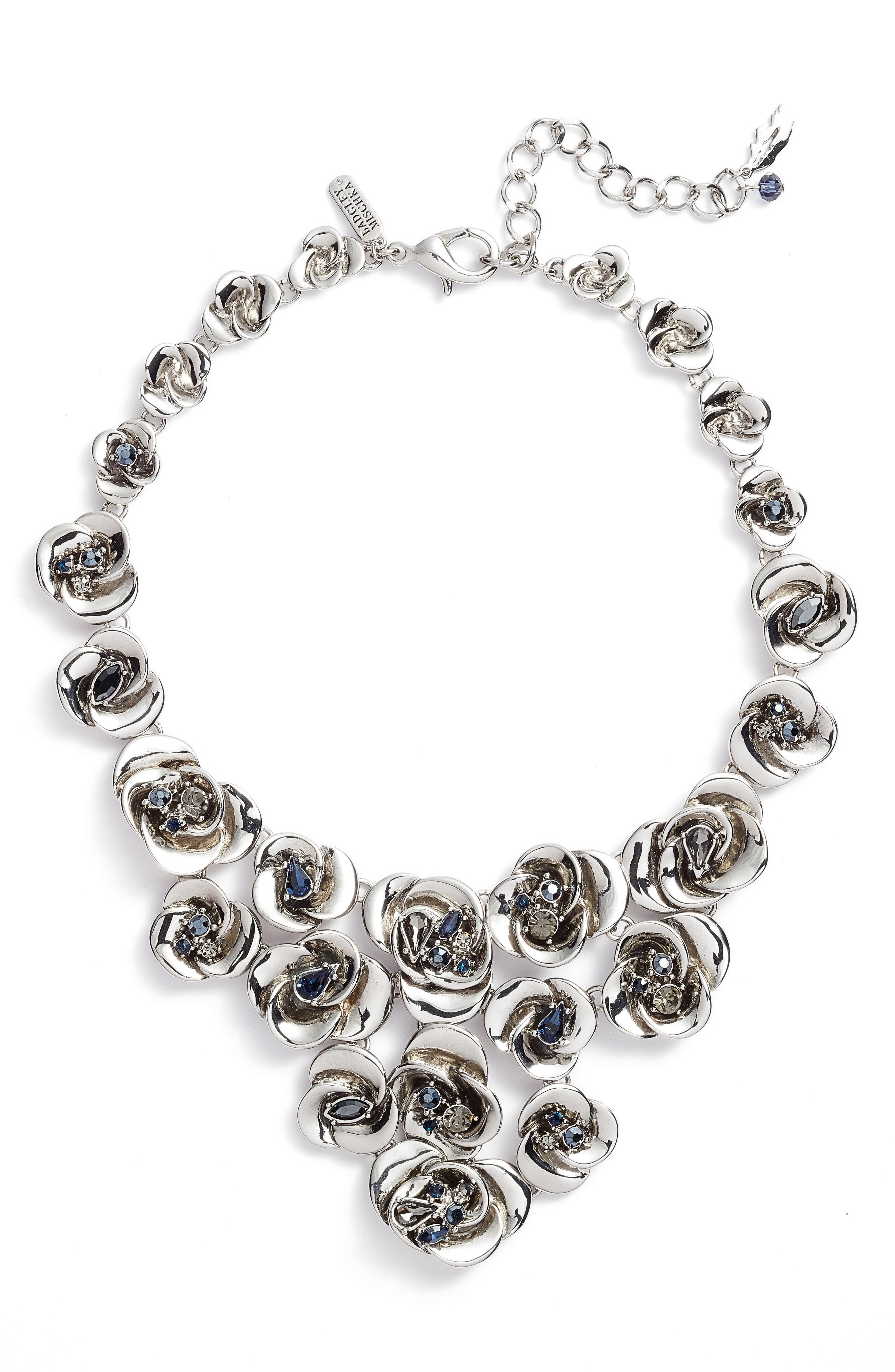 Floral Bib Necklace,                             Main thumbnail 1, color,                             Silver