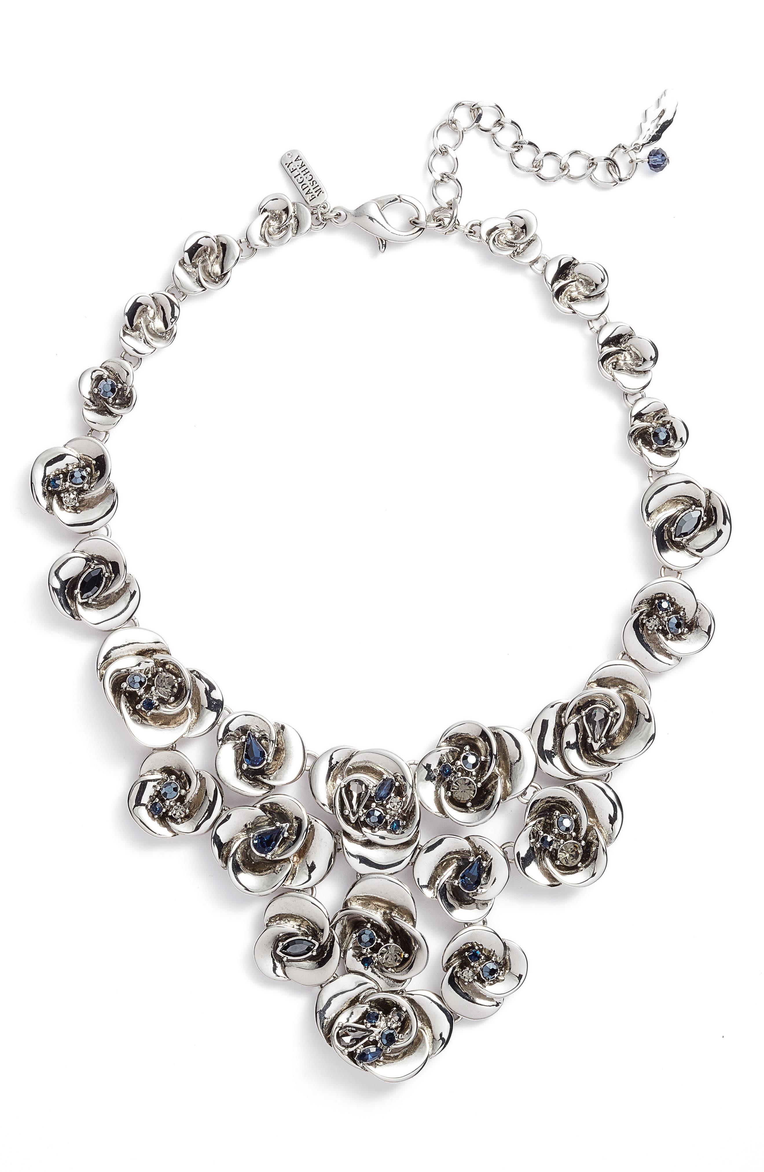 Floral Bib Necklace,                         Main,                         color, Silver
