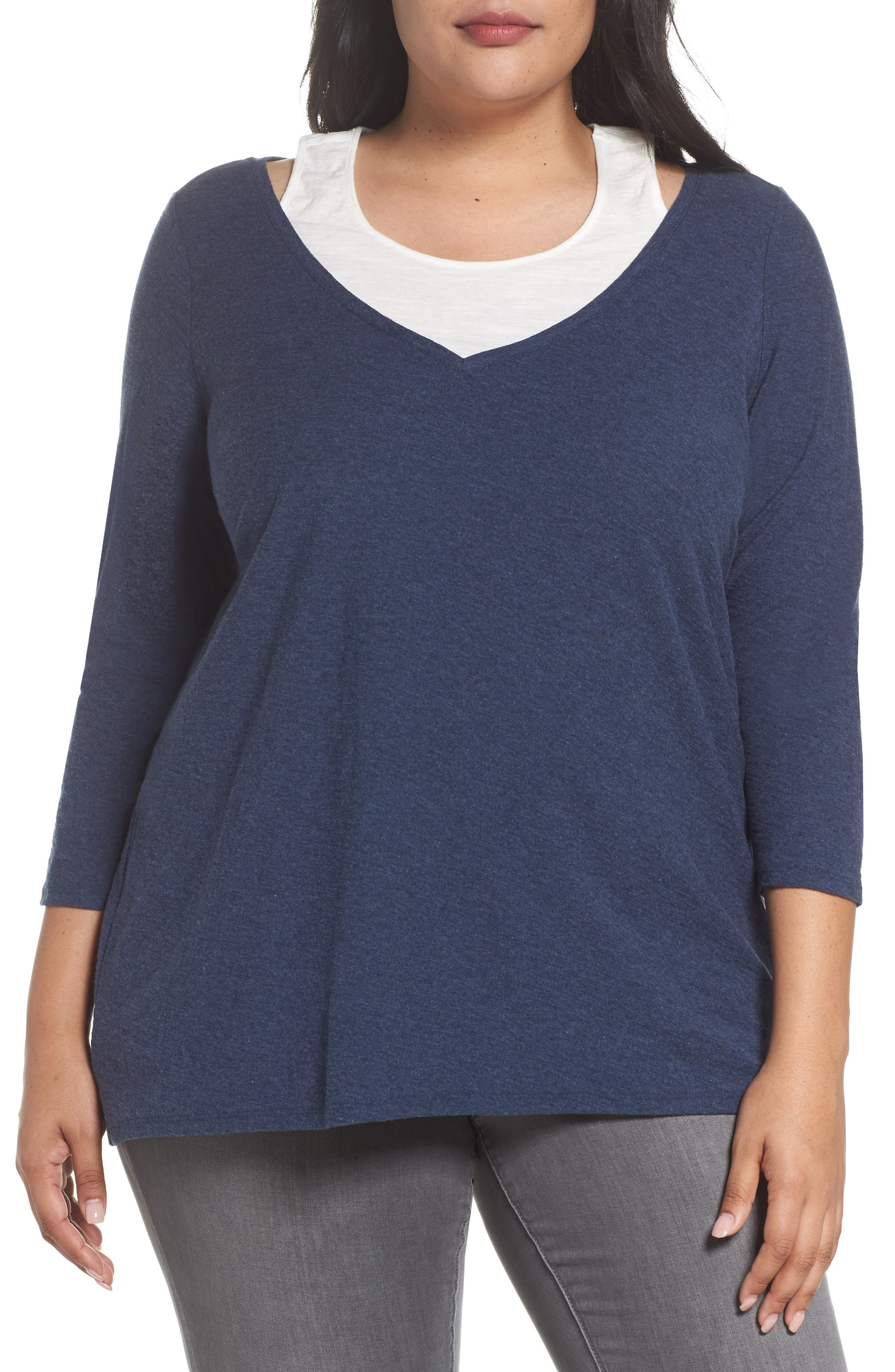 Two by Vince Camuto Neck Inset Top (Plus Size)