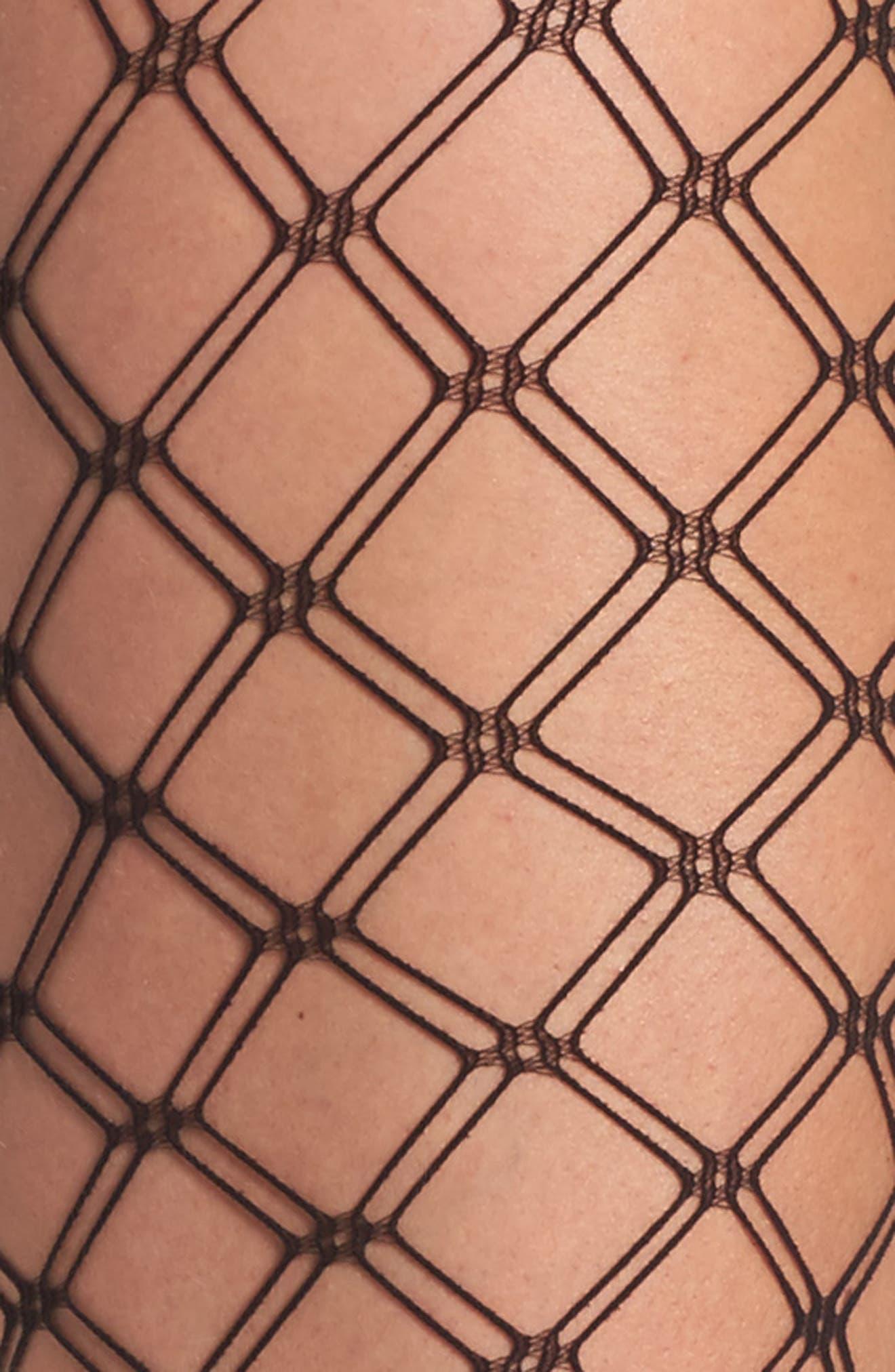 Alternate Image 2  - Nordstrom Double Diamond Fishnet Tights