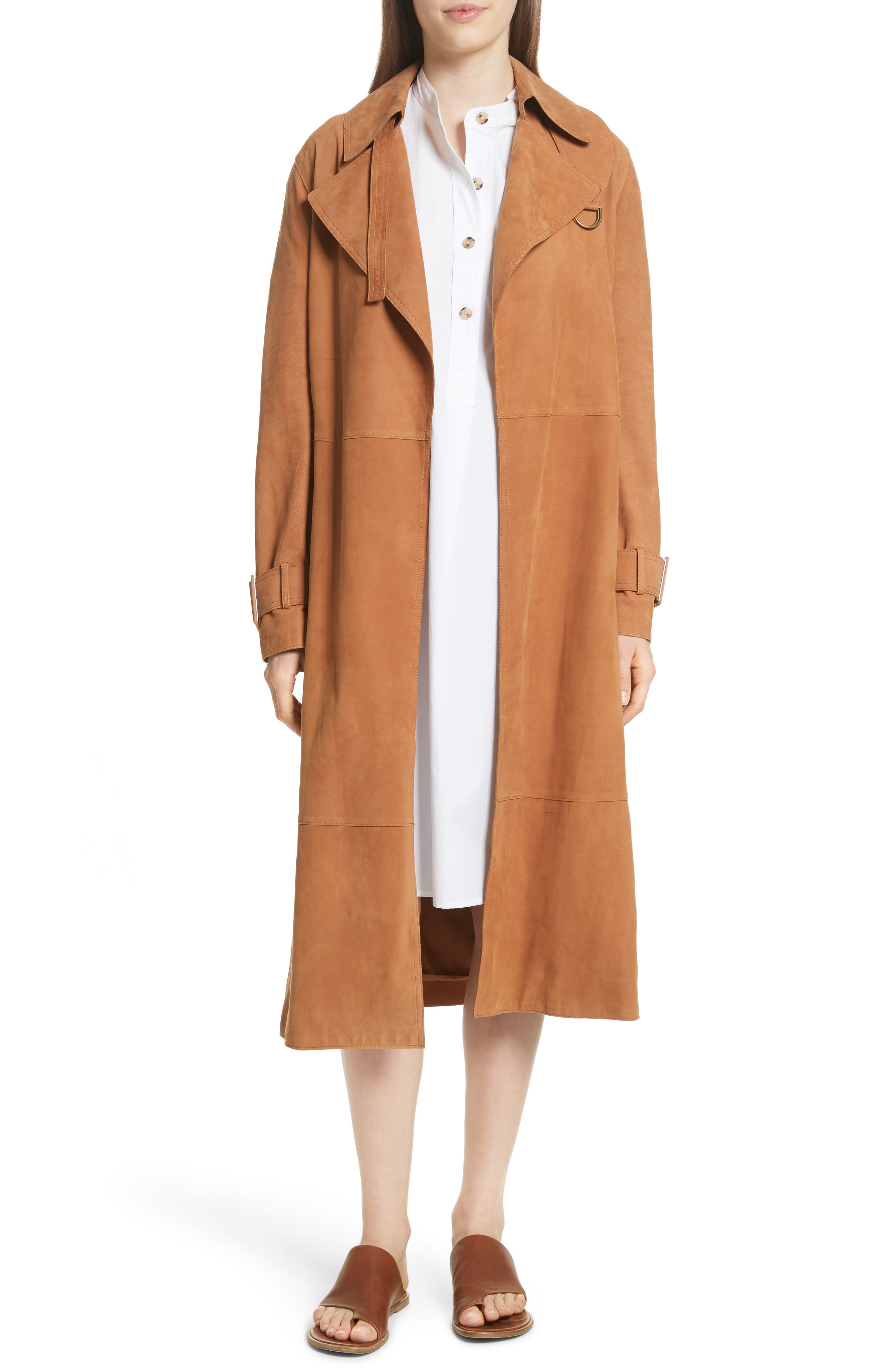 Suede Trench Coat,                             Alternate thumbnail 7, color,                             Deep Saddle