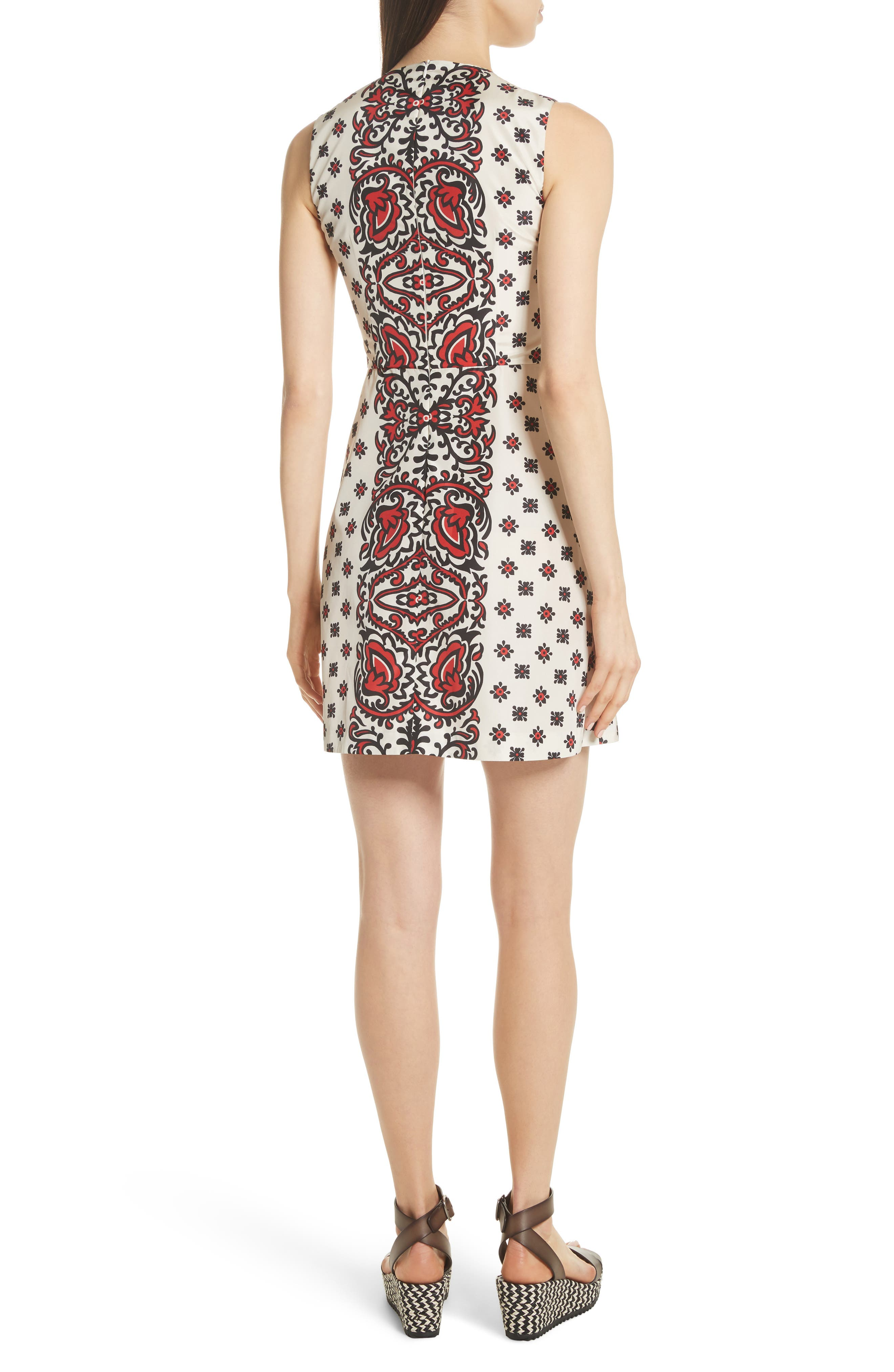 Print A-Line Dress,                             Alternate thumbnail 2, color,                             Cherry
