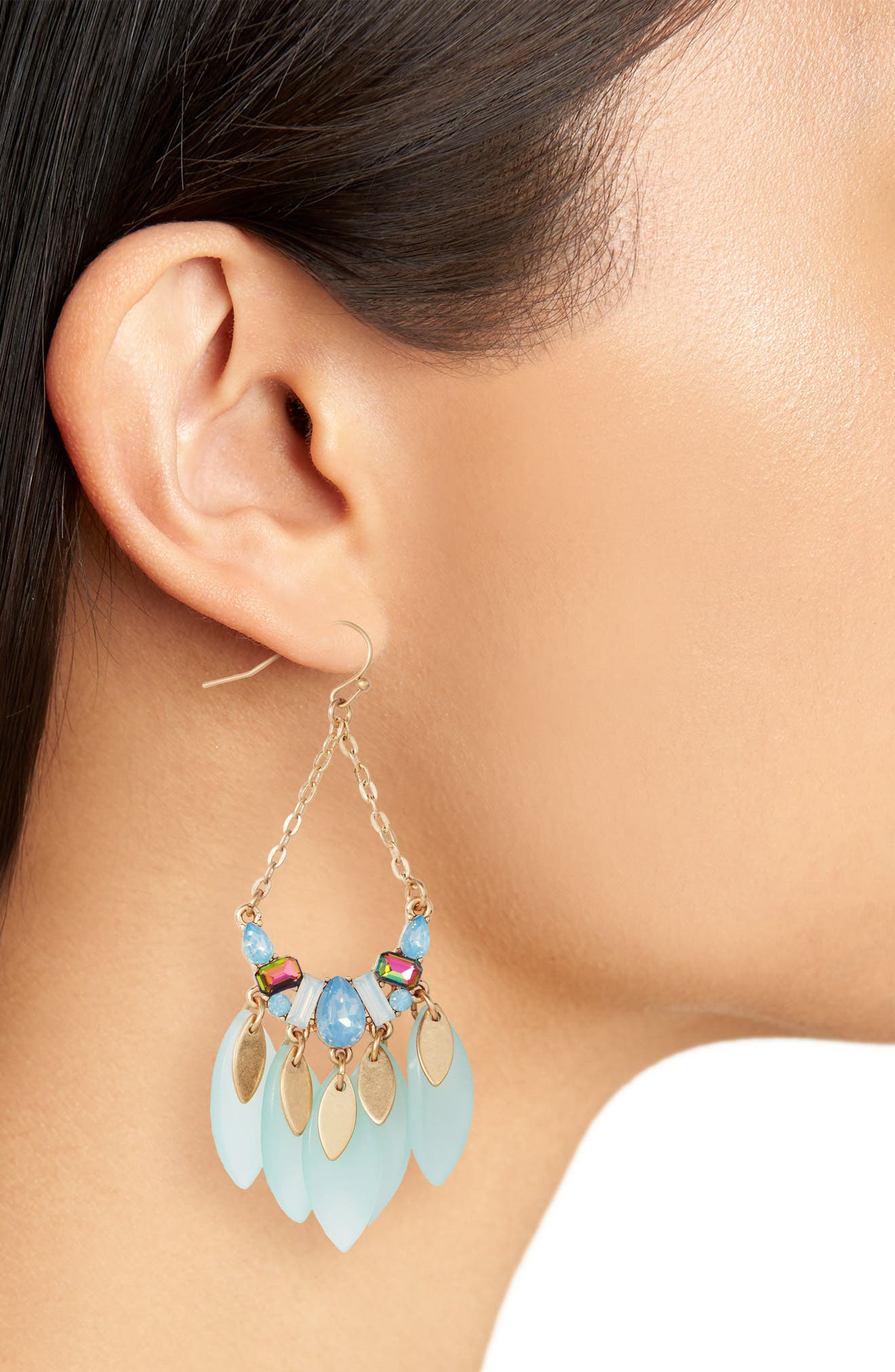 Petal Teardrop Earrings,                             Alternate thumbnail 2, color,                             Blue Opal- Gold