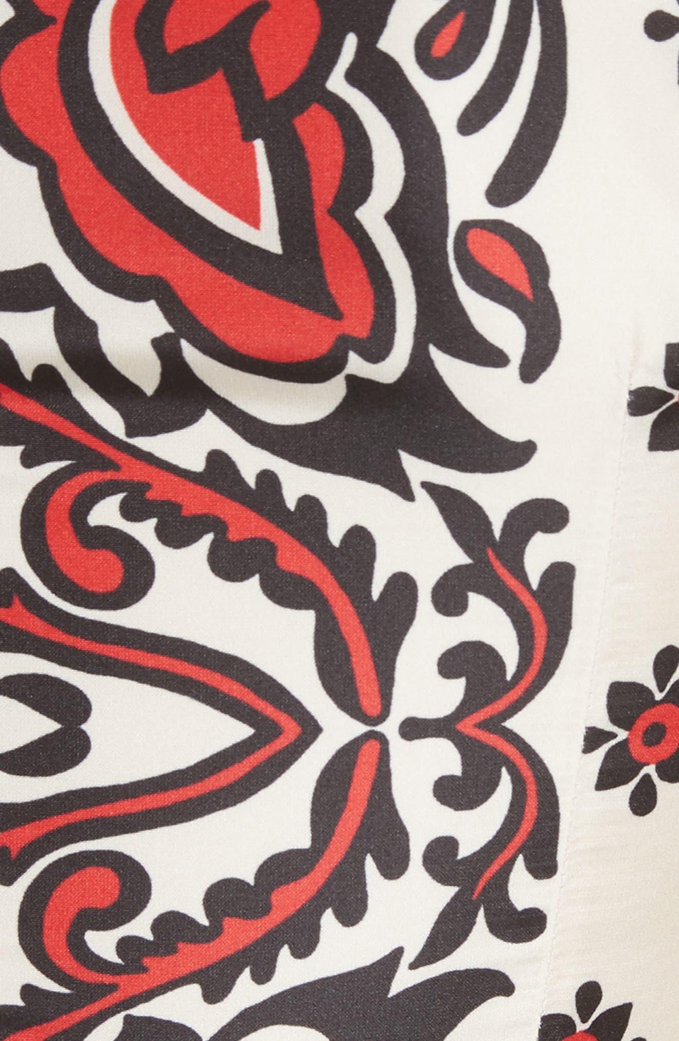 Print A-Line Dress,                             Alternate thumbnail 5, color,                             Cherry