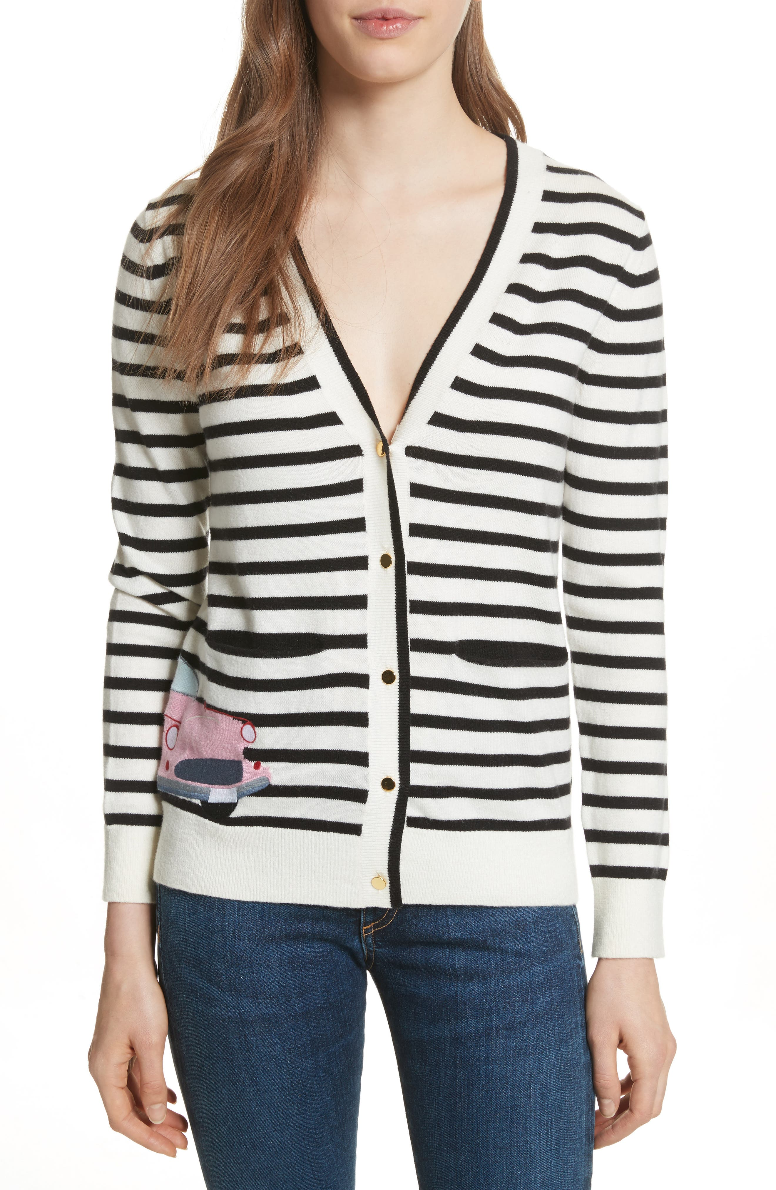 car cardigan,                             Main thumbnail 1, color,                             Black/ Cream Multi