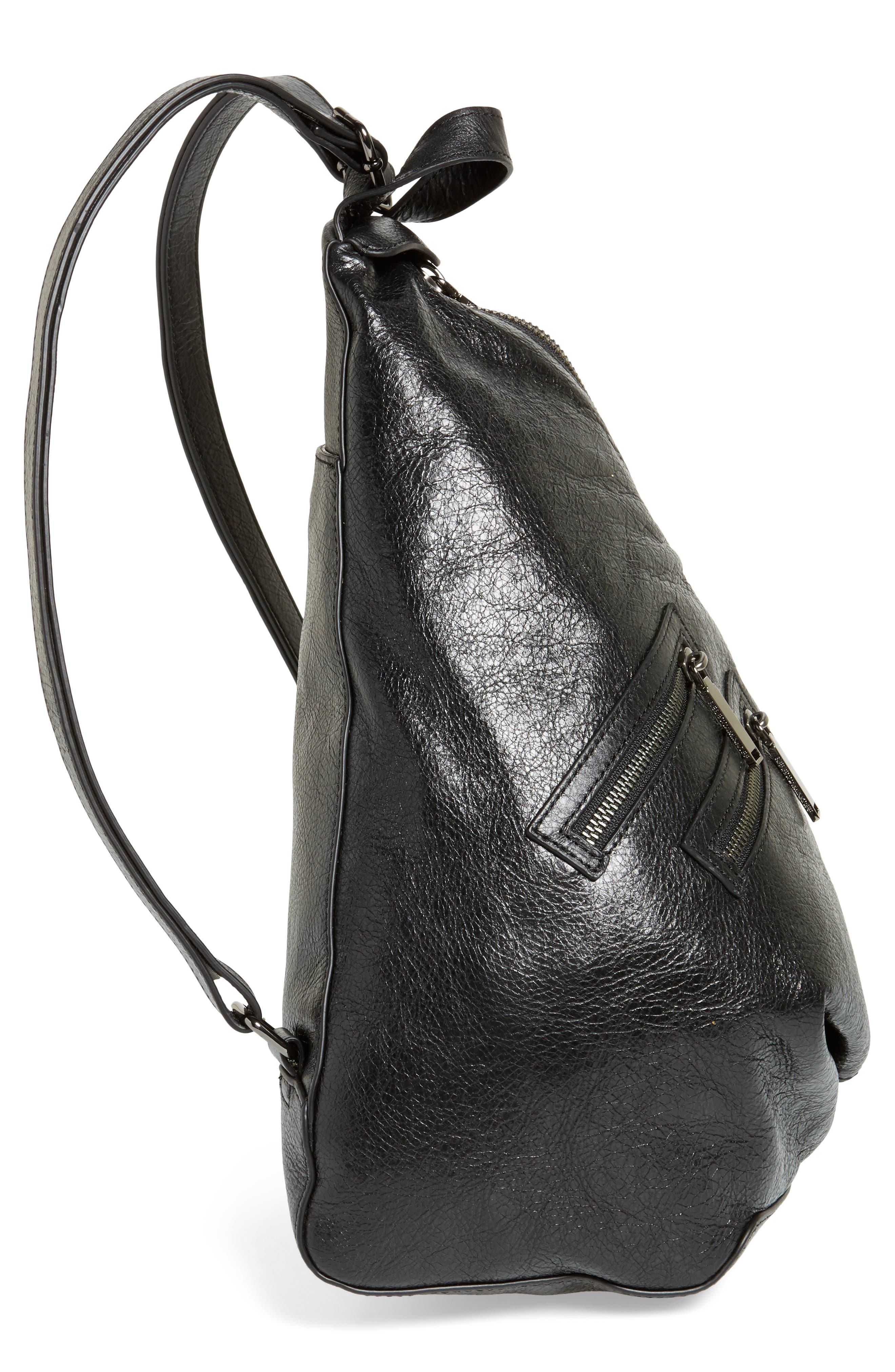 Jamie Leather Backpack,                             Alternate thumbnail 5, color,                             Black