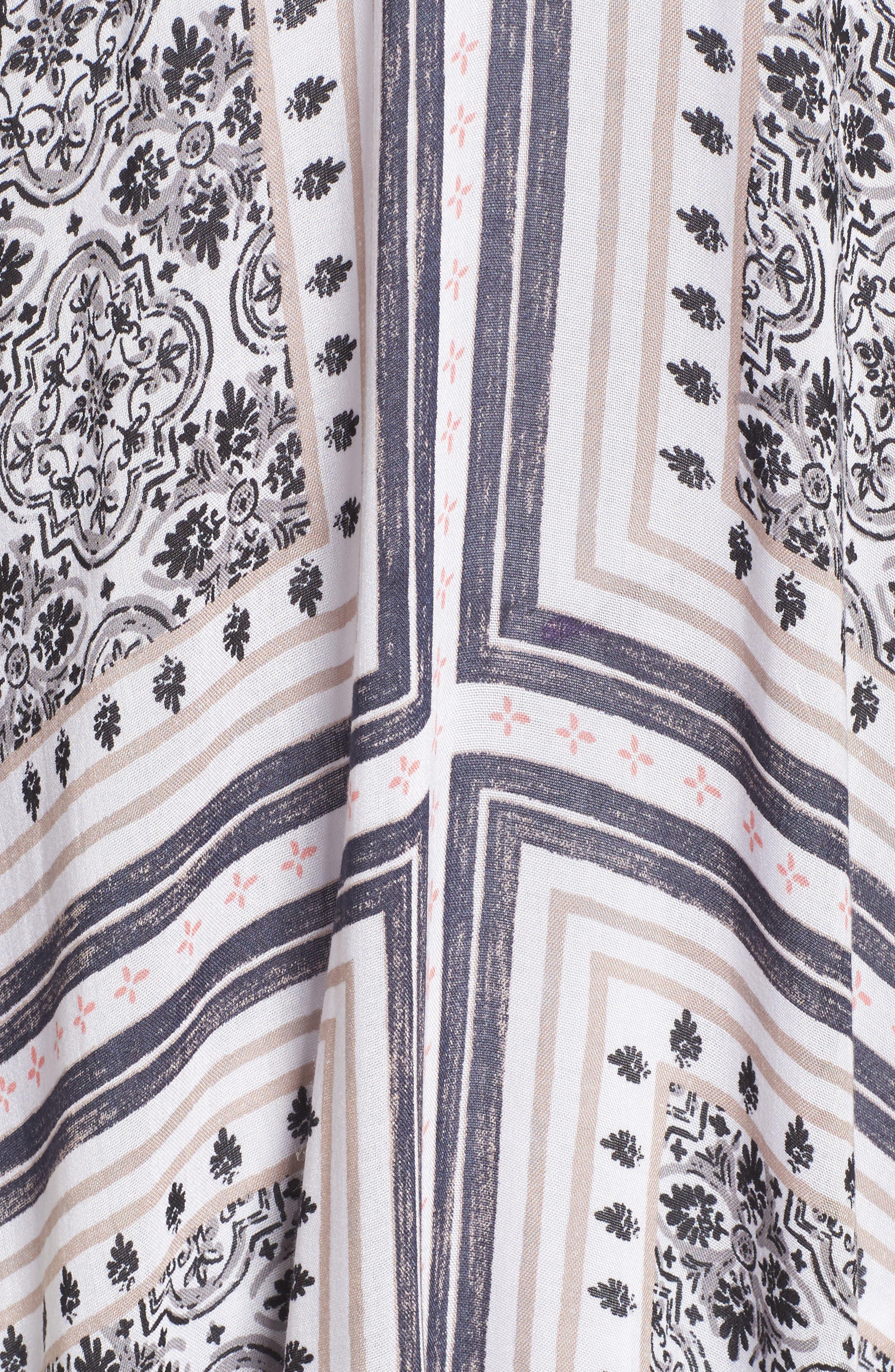 Print Ruana,                             Alternate thumbnail 5, color,                             White Tiled Stripe