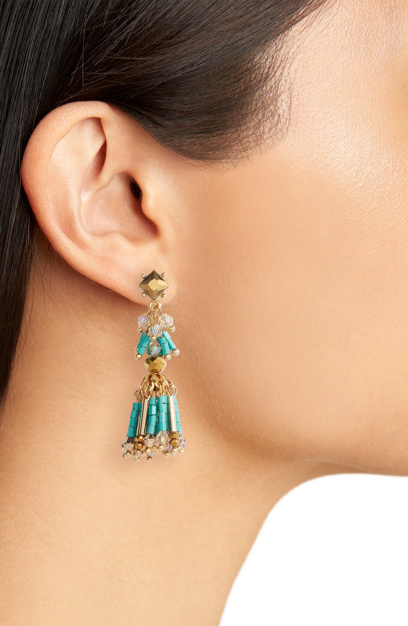 Beaded Fringe Drop Earrings,                             Alternate thumbnail 2, color,                             Turquoise/ Gold