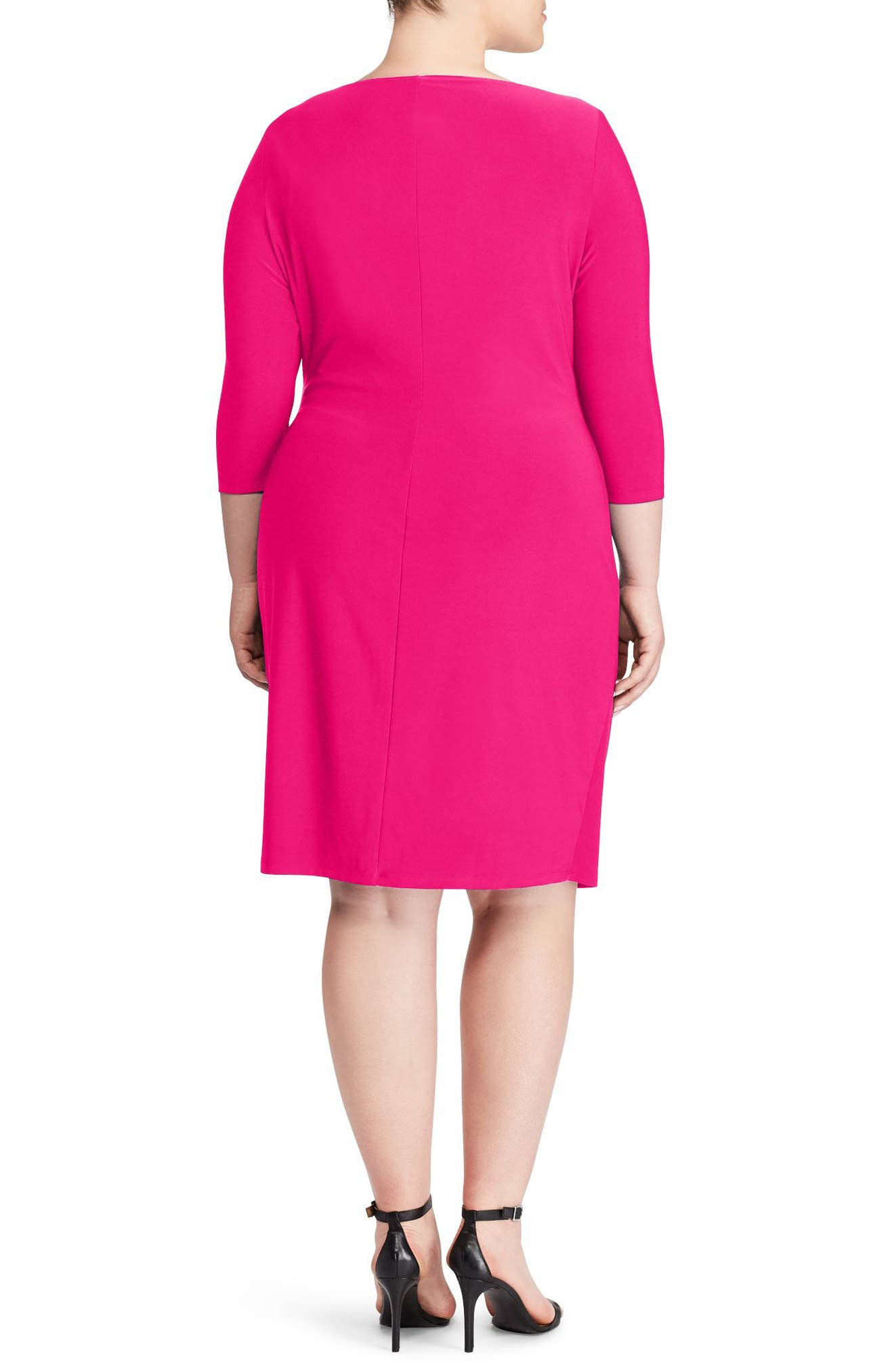 Ruched Jersey Dress,                             Alternate thumbnail 2, color,                             Pink Poppy